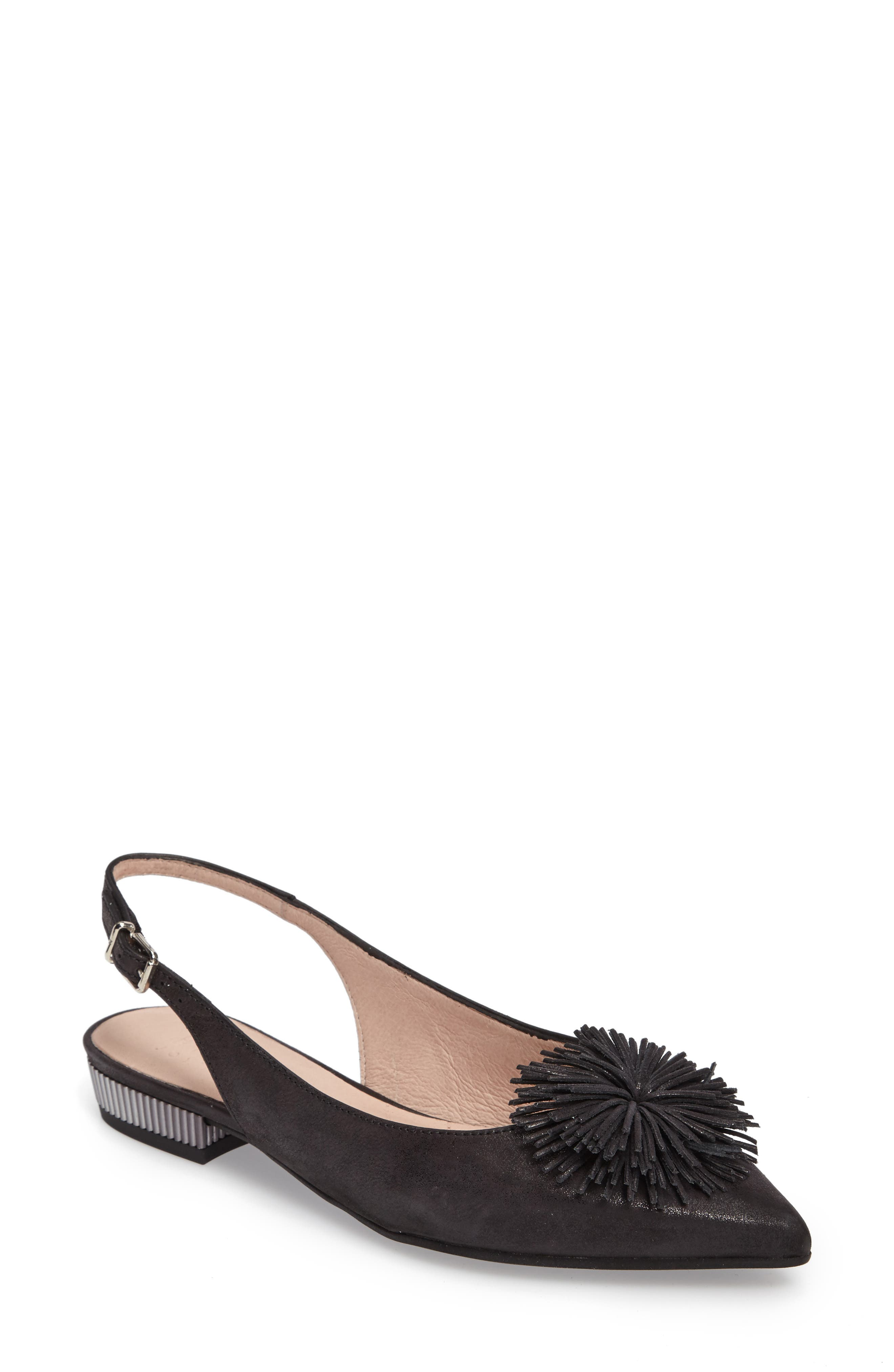 'Faylynn' Fringe Flower Slingback,                             Main thumbnail 1, color,                             MAGIC BLACK LEATHER
