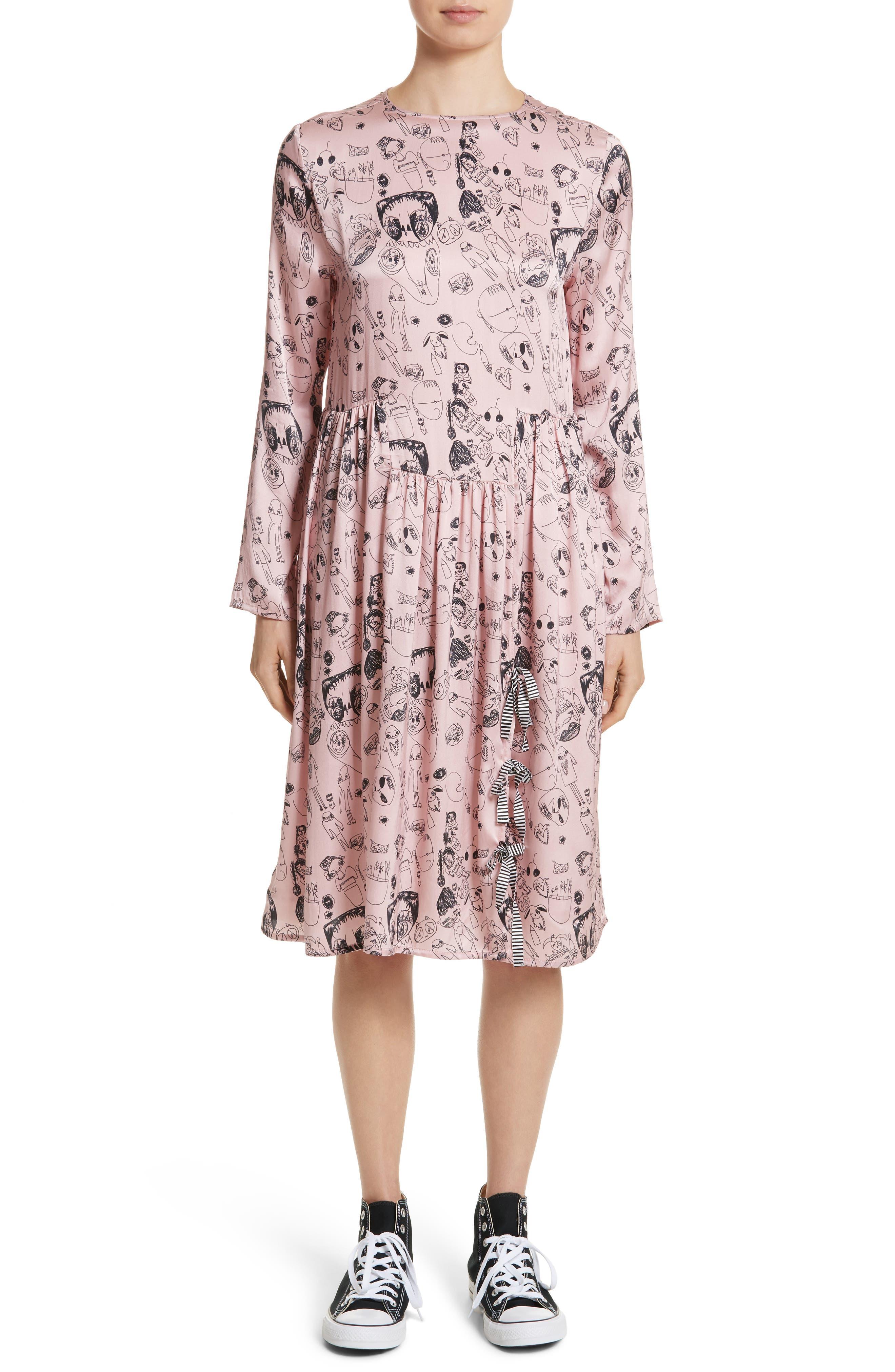 Heather Print Silk Dress,                         Main,                         color, 650
