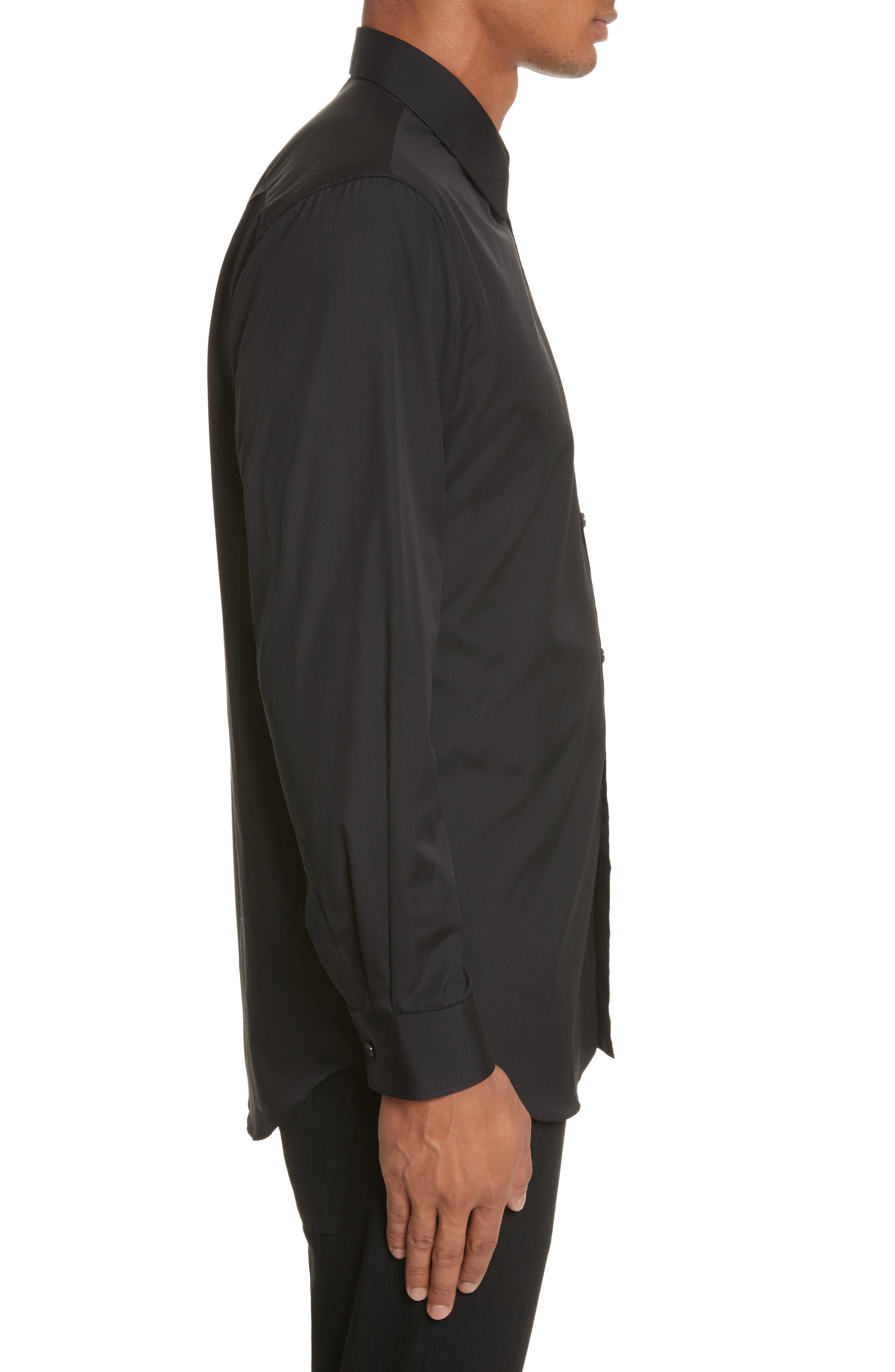 Trim Fit Oxford Shirt,                             Alternate thumbnail 4, color,                             BLACK