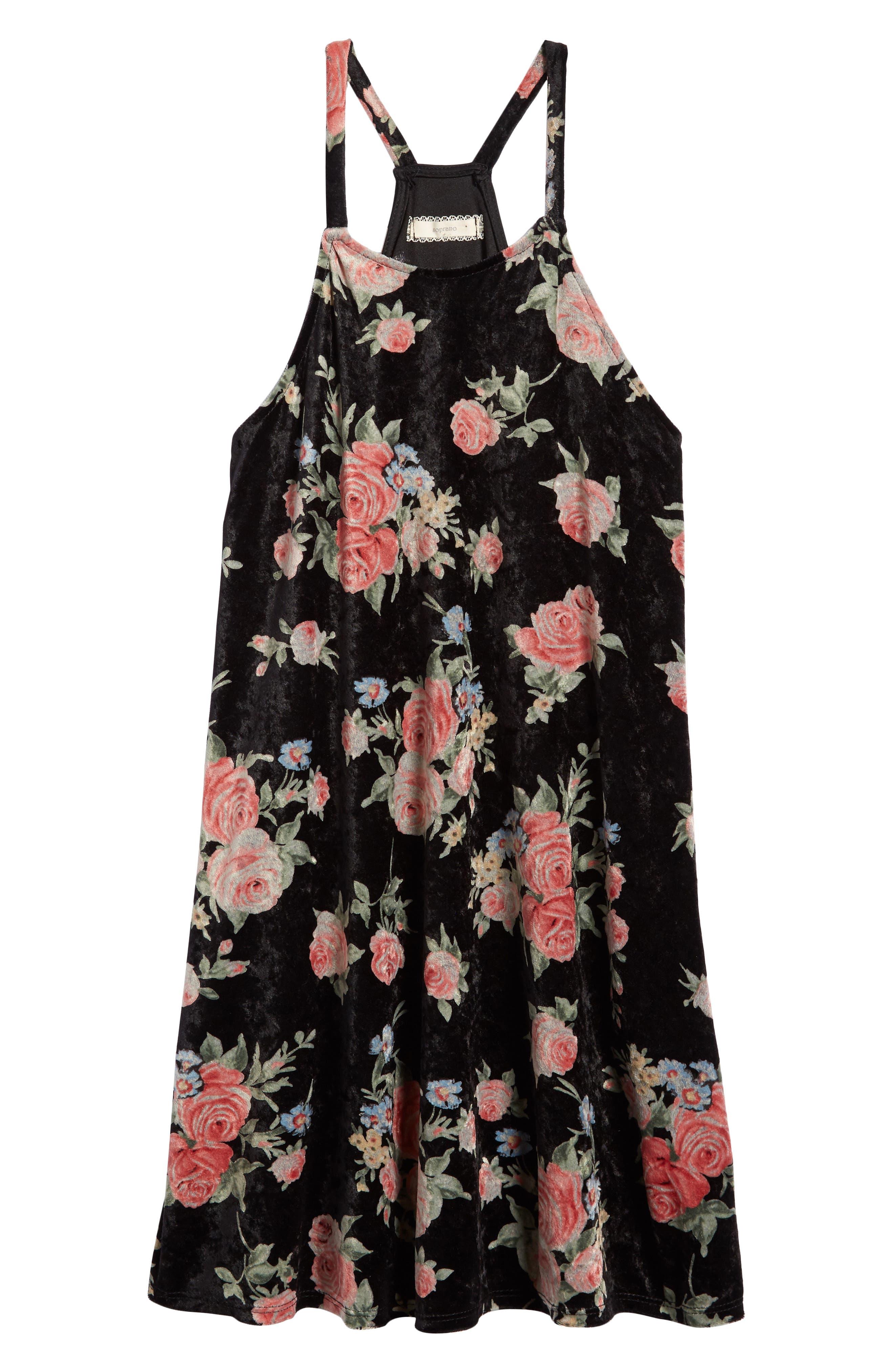 Floral Print Velvet Slipdress,                         Main,                         color, 001