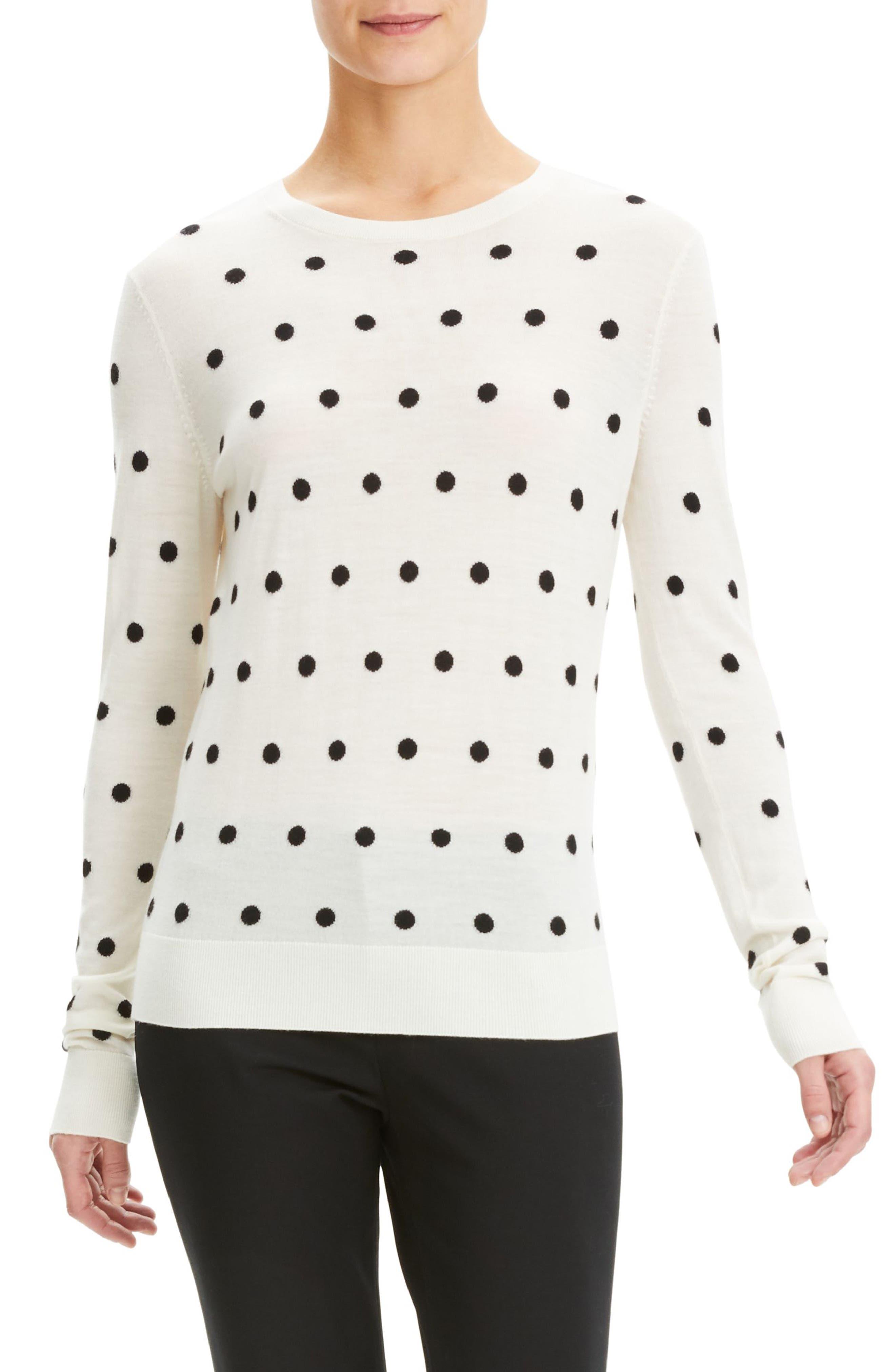 Theory Polka Dot Merino Wool Sweater, Size Petite - Ivory