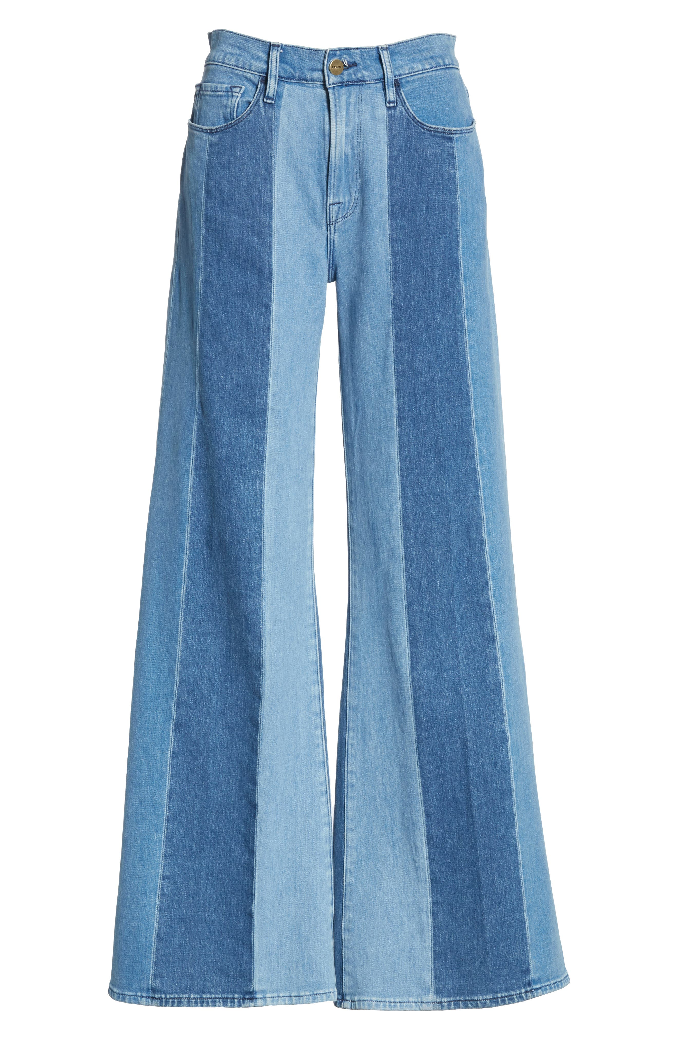Le Palazzo Paneled Wide Leg Jeans,                             Alternate thumbnail 6, color,                             VINEYARD
