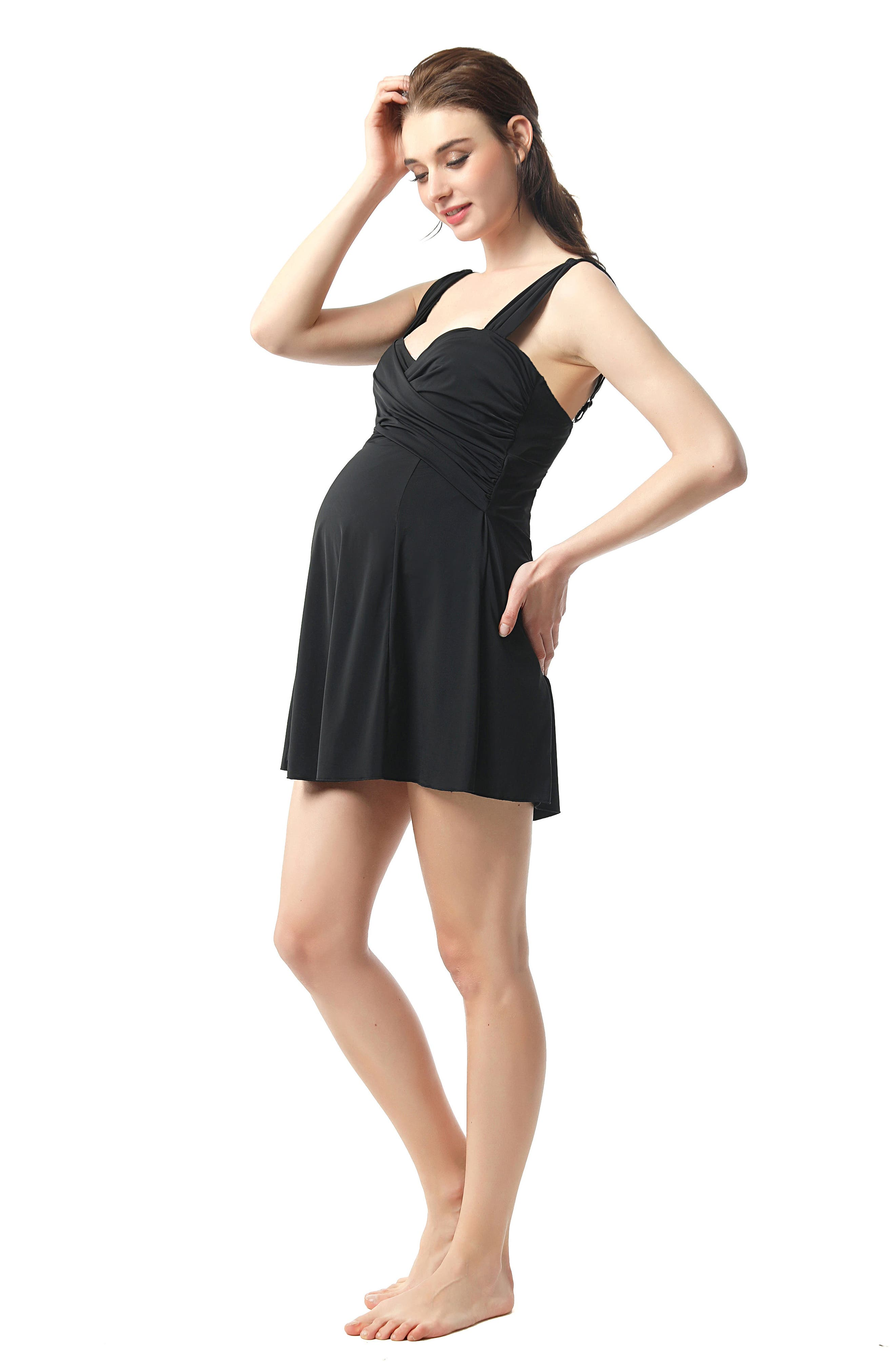 Julie Ruched Skirted One-Piece Maternity Swimsuit,                             Alternate thumbnail 6, color,                             BLACK
