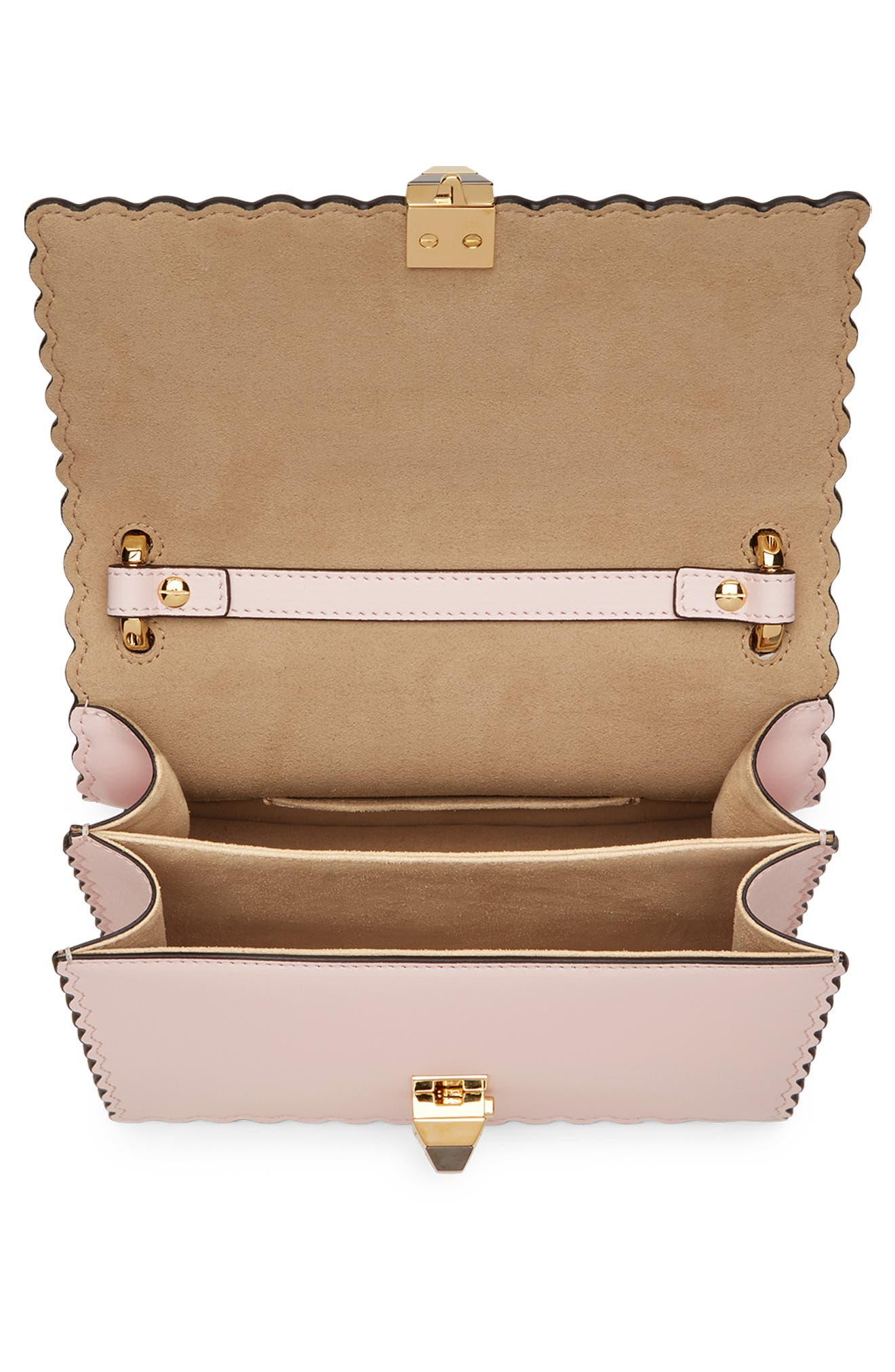 Mini Kan I Scalloped Leather Shoulder Bag,                             Alternate thumbnail 3, color,                             CONFETTO/ ORO SOFT