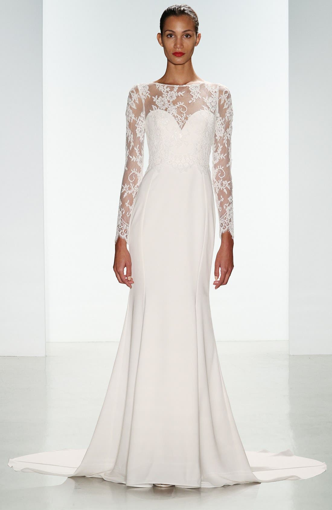 Noelle Long Sleeve Lace & Crepe Gown,                             Alternate thumbnail 6, color,                             IVORY