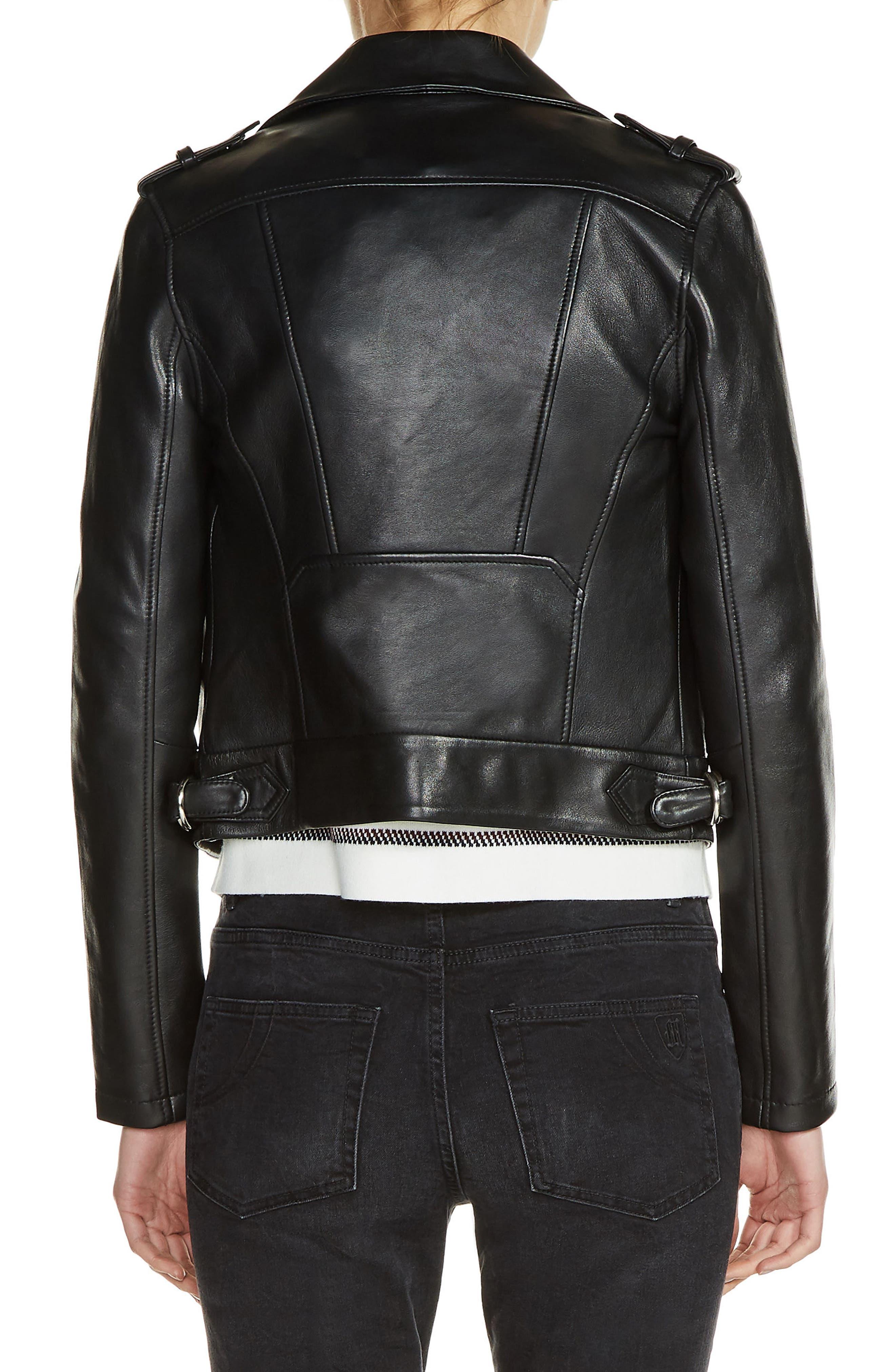 Lambksin Leather Moto Jacket,                             Alternate thumbnail 2, color,                             001