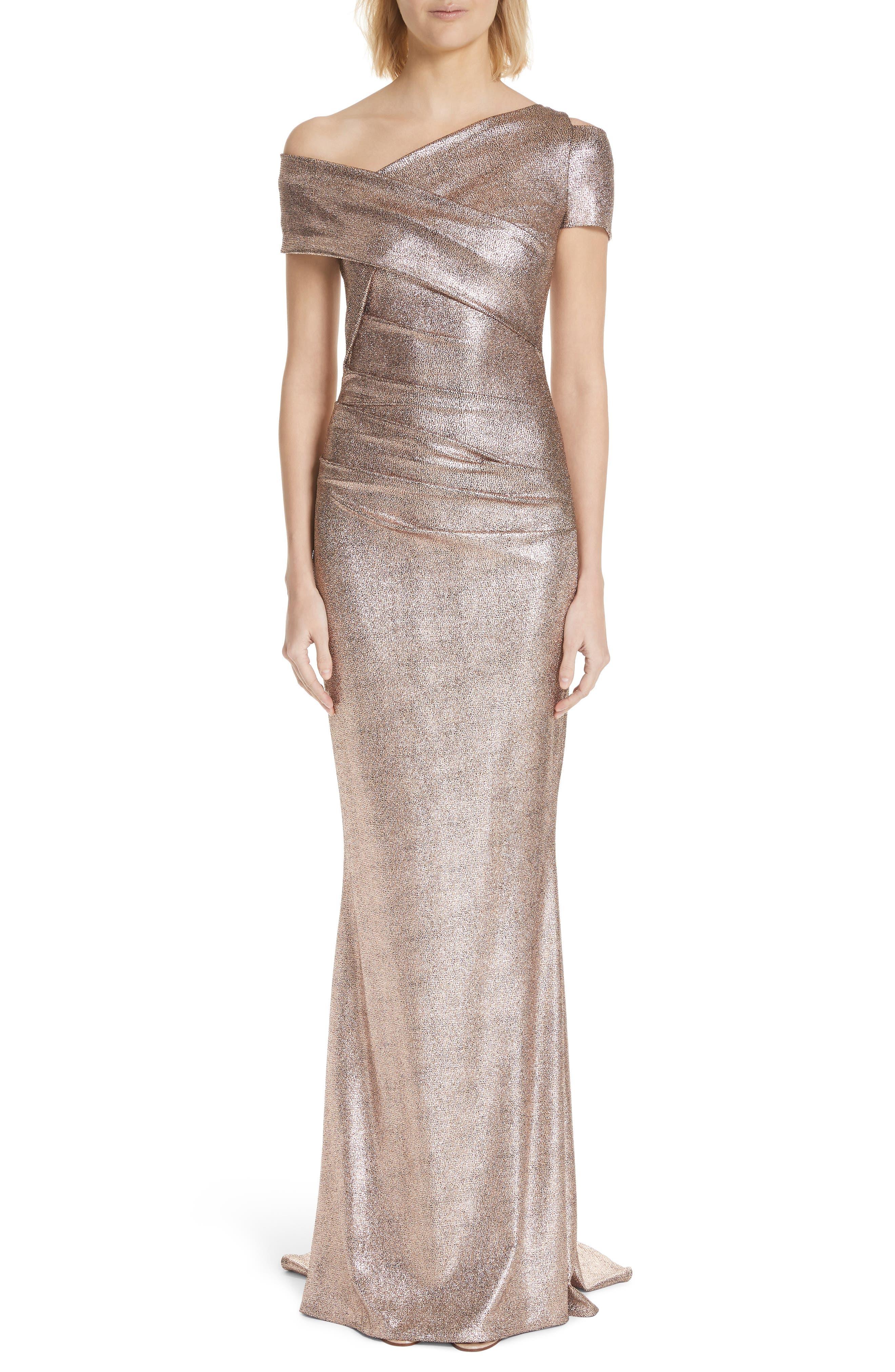 Copper Foil Scuba Jersey Trumpet Gown, Main, color, 220