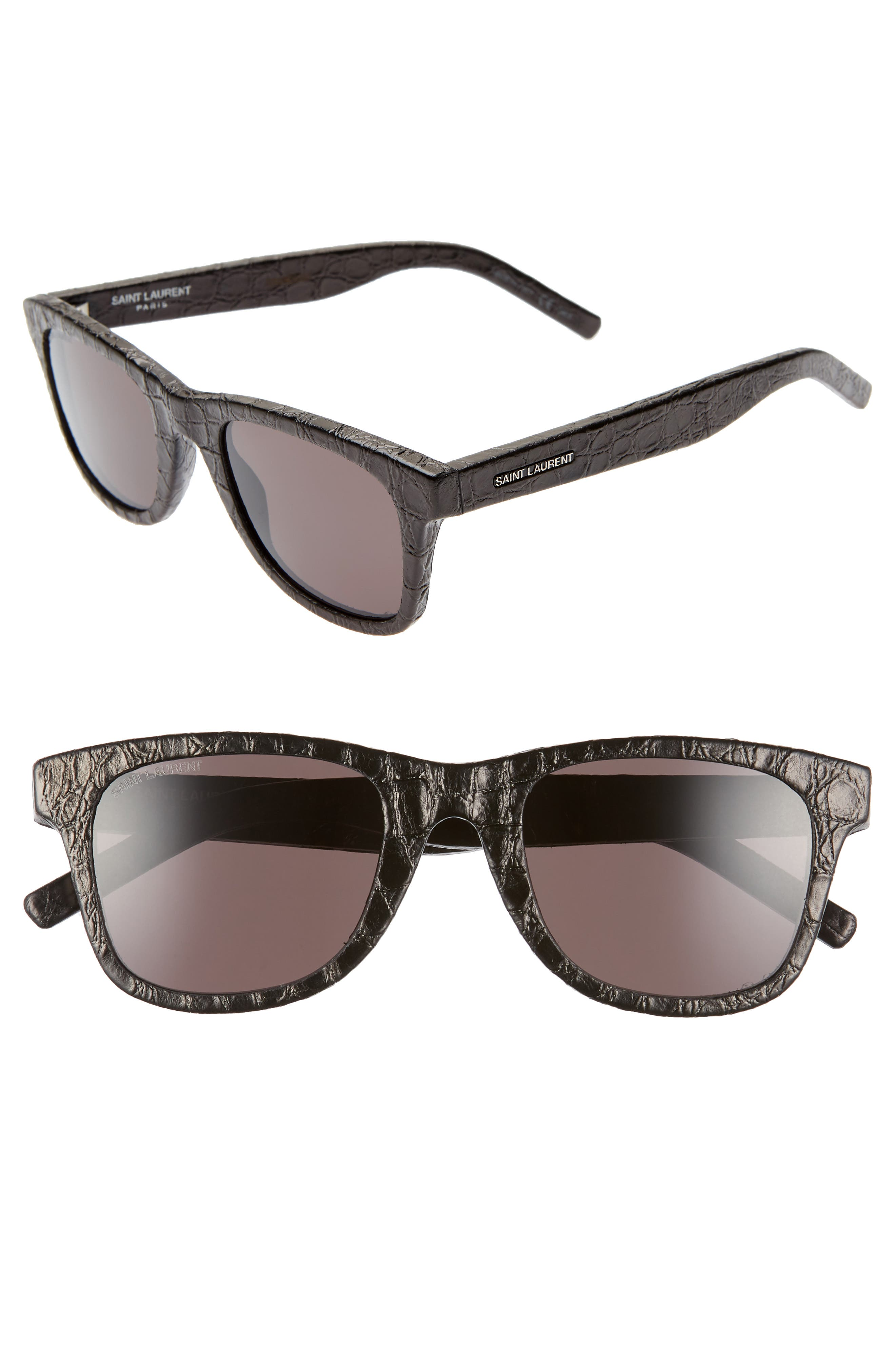 50mm Leather Wrapped Flat Top Sunglasses,                         Main,                         color, BLACK CROCO/ GREY