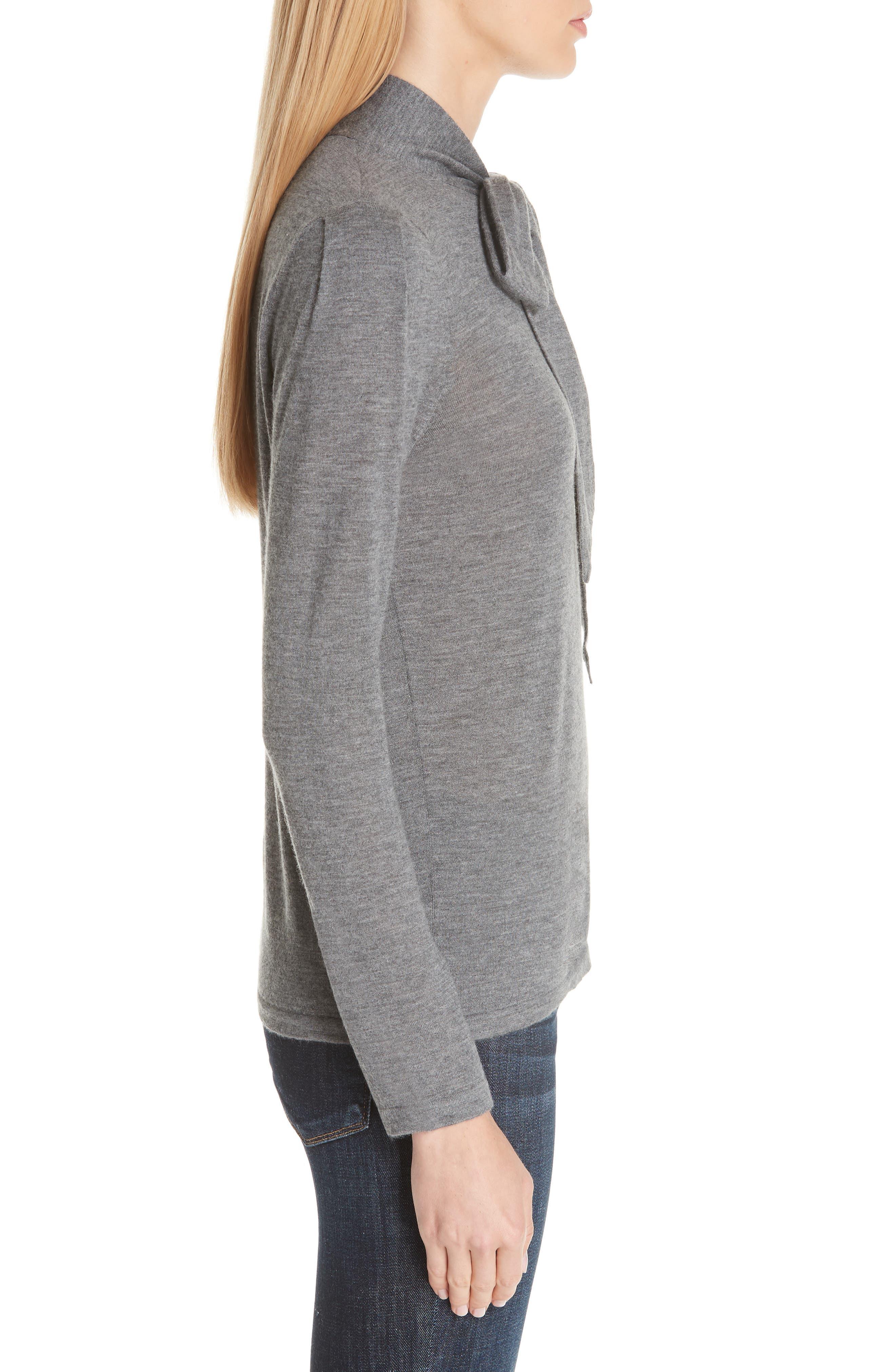 Essentials Tie Neck Cashmere Sweater,                             Alternate thumbnail 3, color,                             GREY