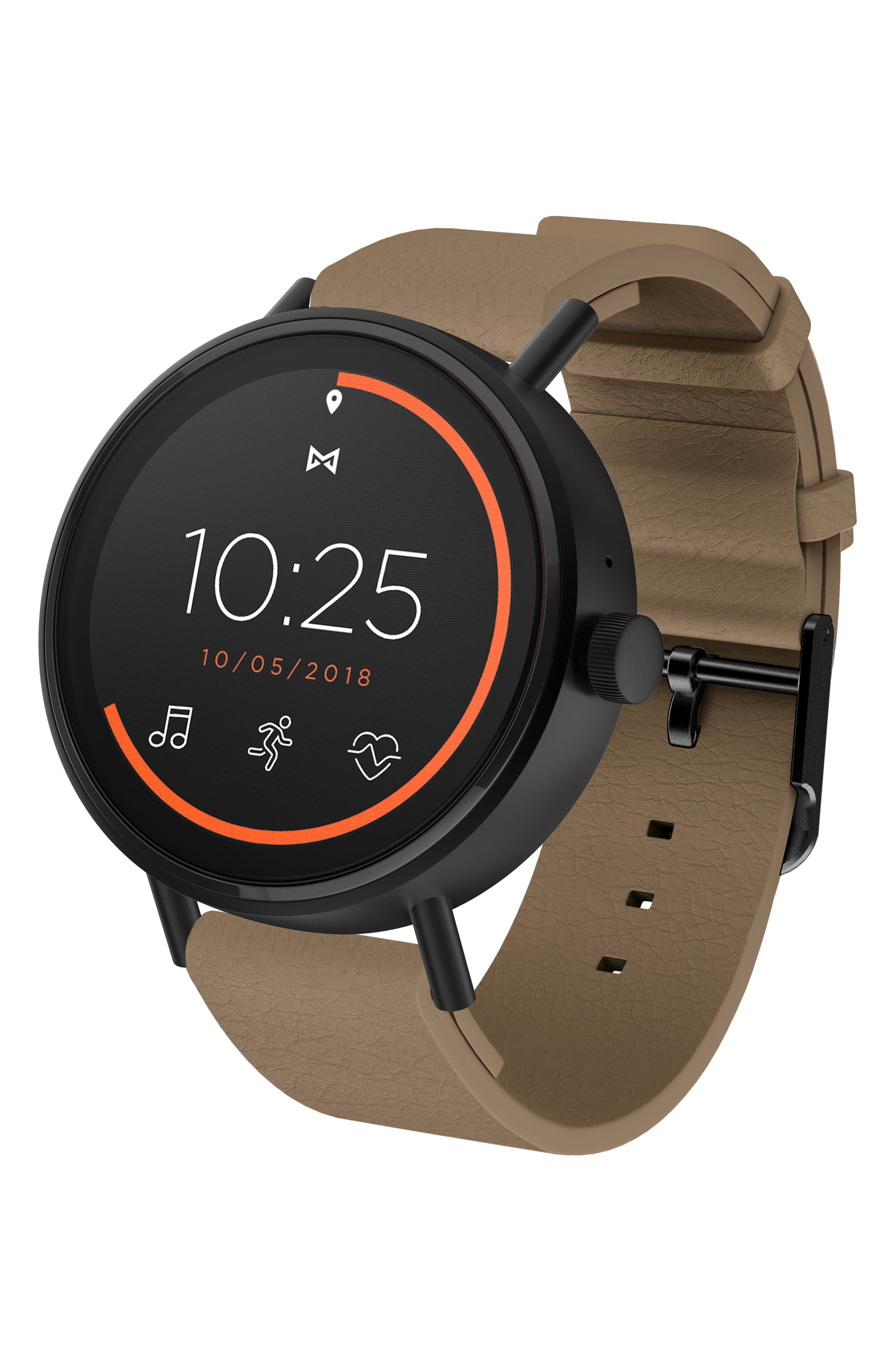 MISFIT Vapor 2 Silicone Strap Smart Watch, 46Mm in Brown/ Black