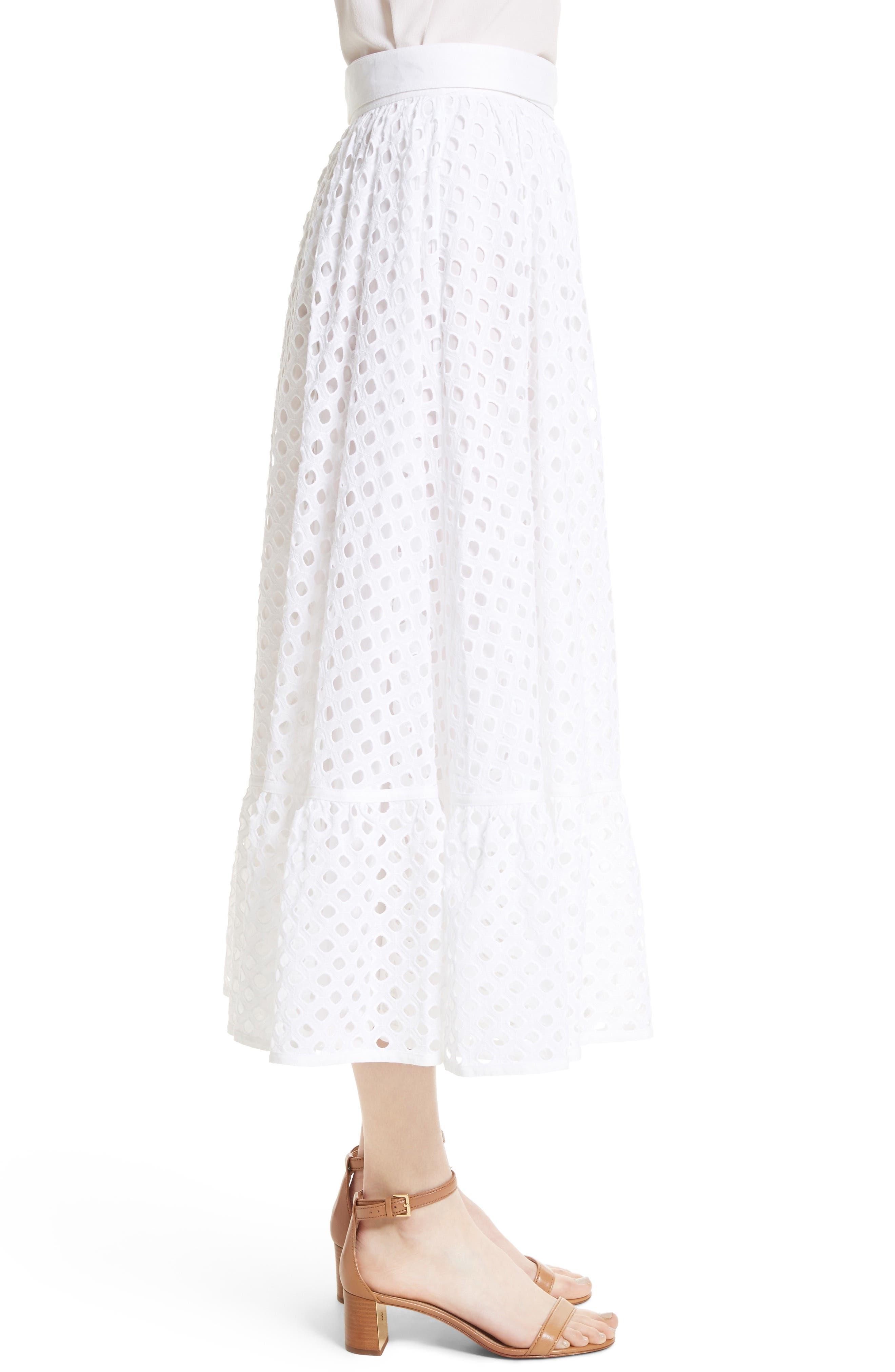 Hermosa Eyelet Midi Skirt,                             Alternate thumbnail 2, color,                             100