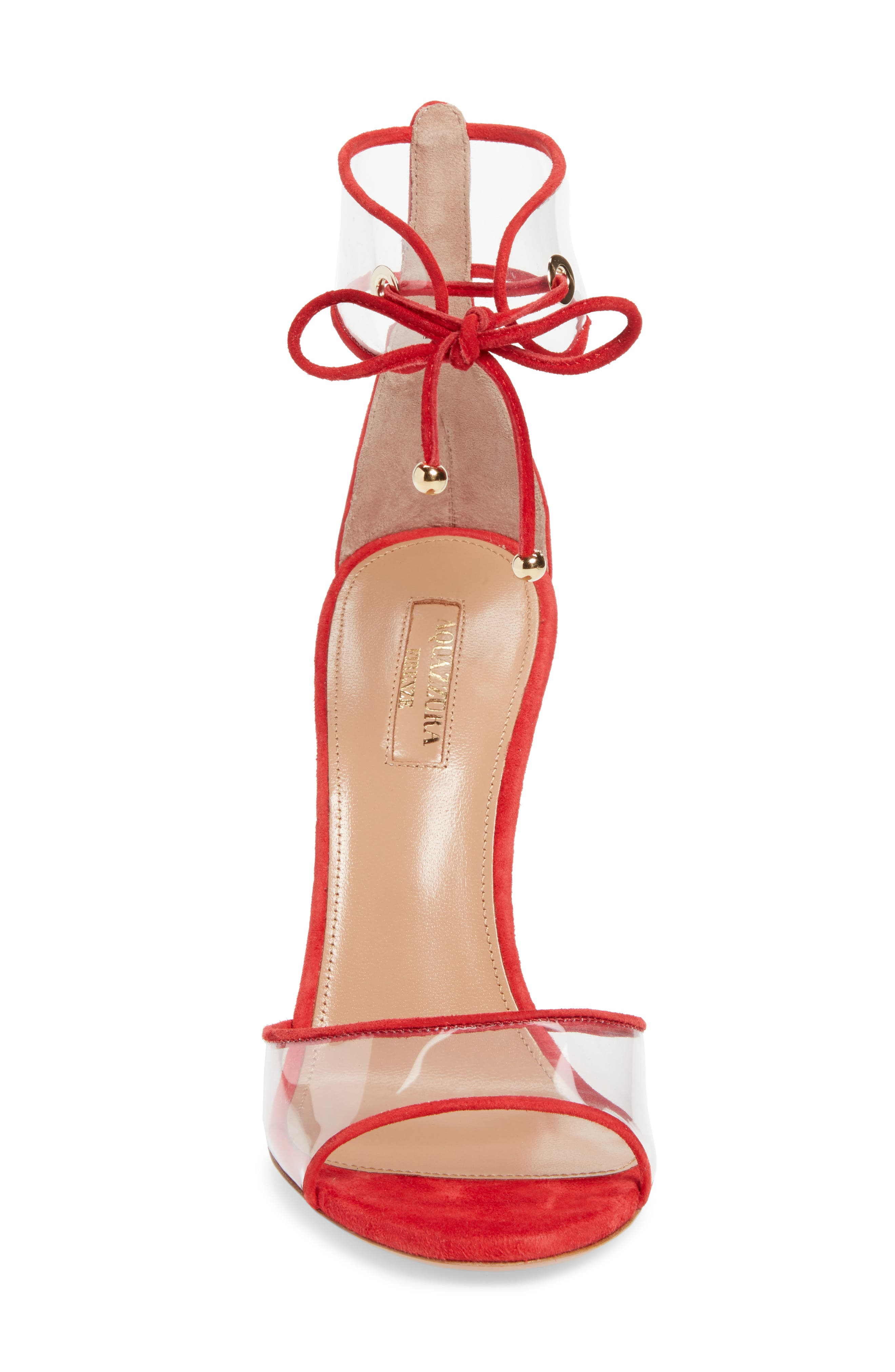 Optic Clear Ankle Tie Sandal,                             Alternate thumbnail 4, color,                             CARNATION RED