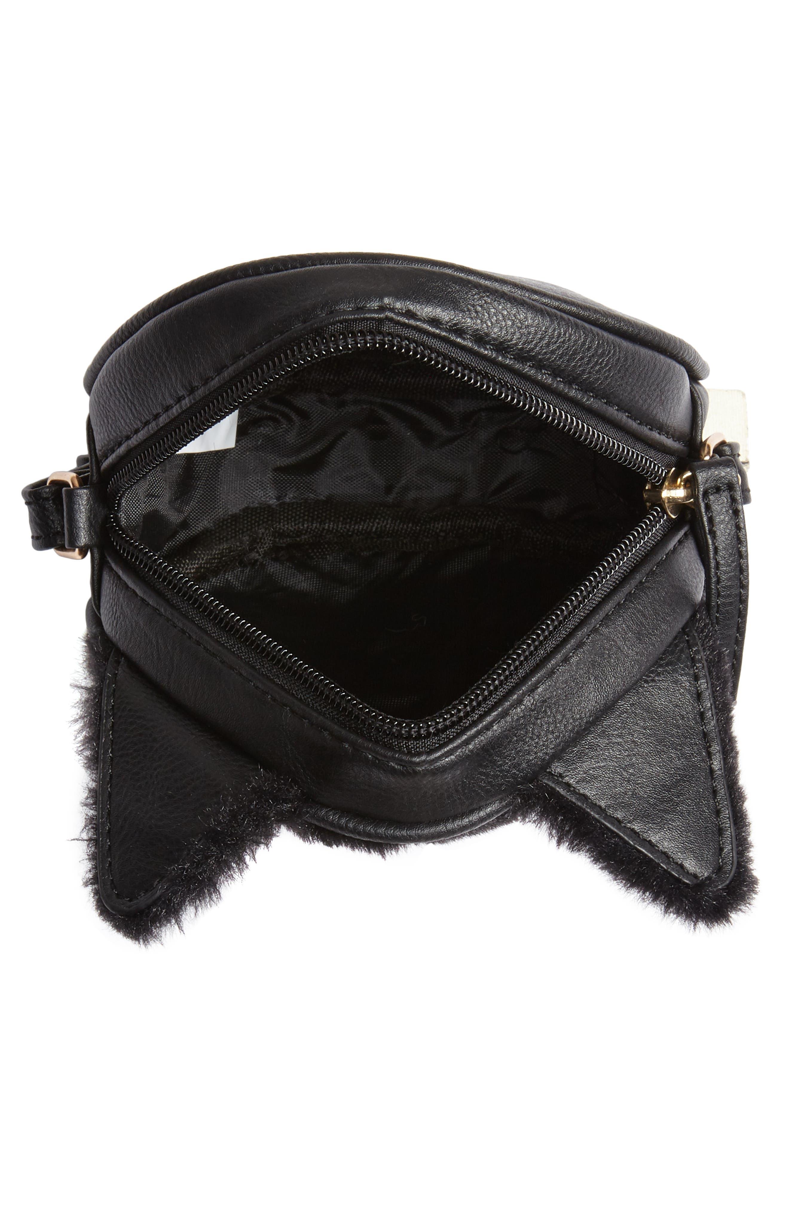 Faux Fur Kitty Crossbody Bag,                             Alternate thumbnail 3, color,                             001