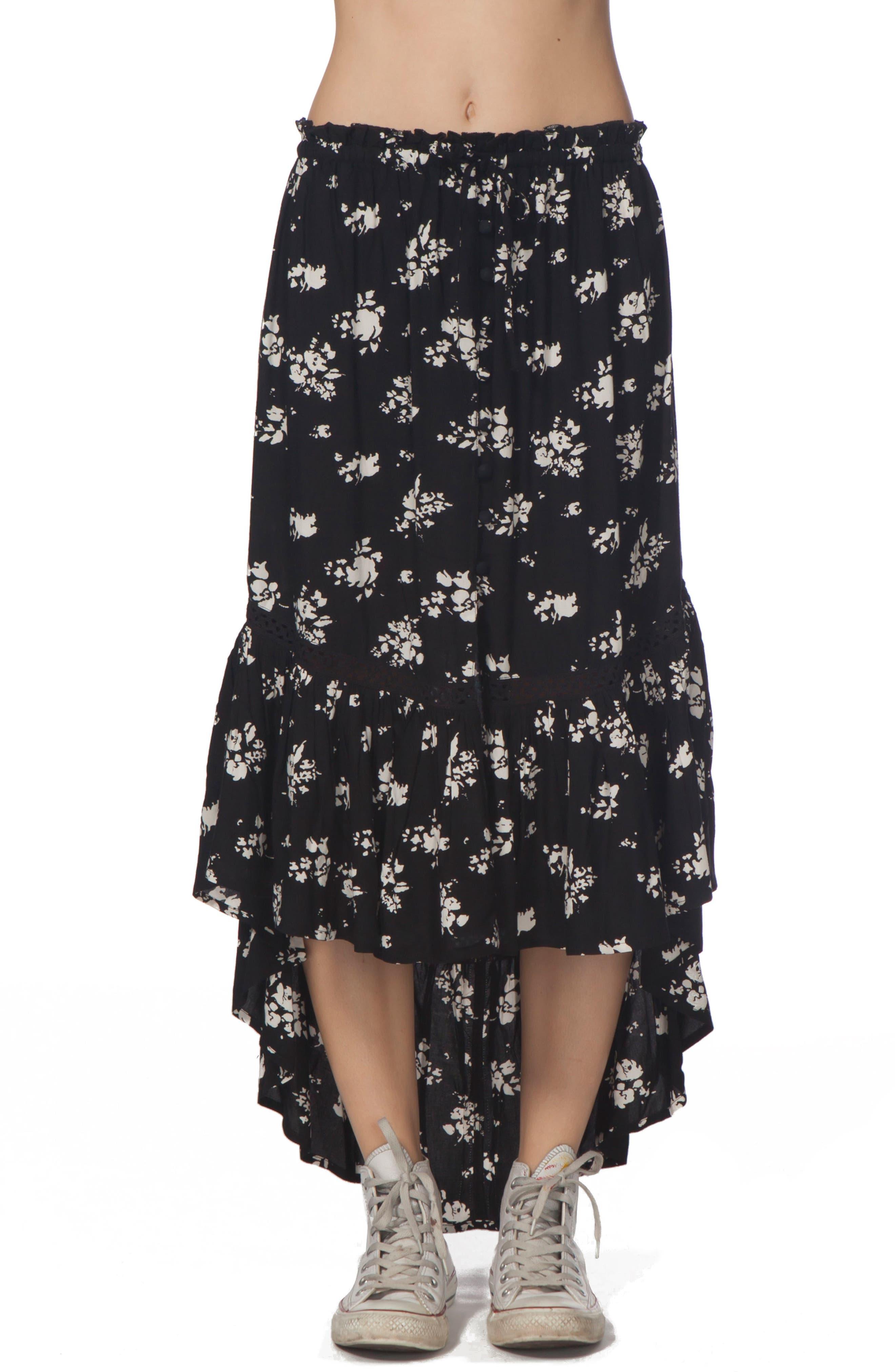 Lakehouse Ruffle High/Low Skirt,                         Main,                         color, 001