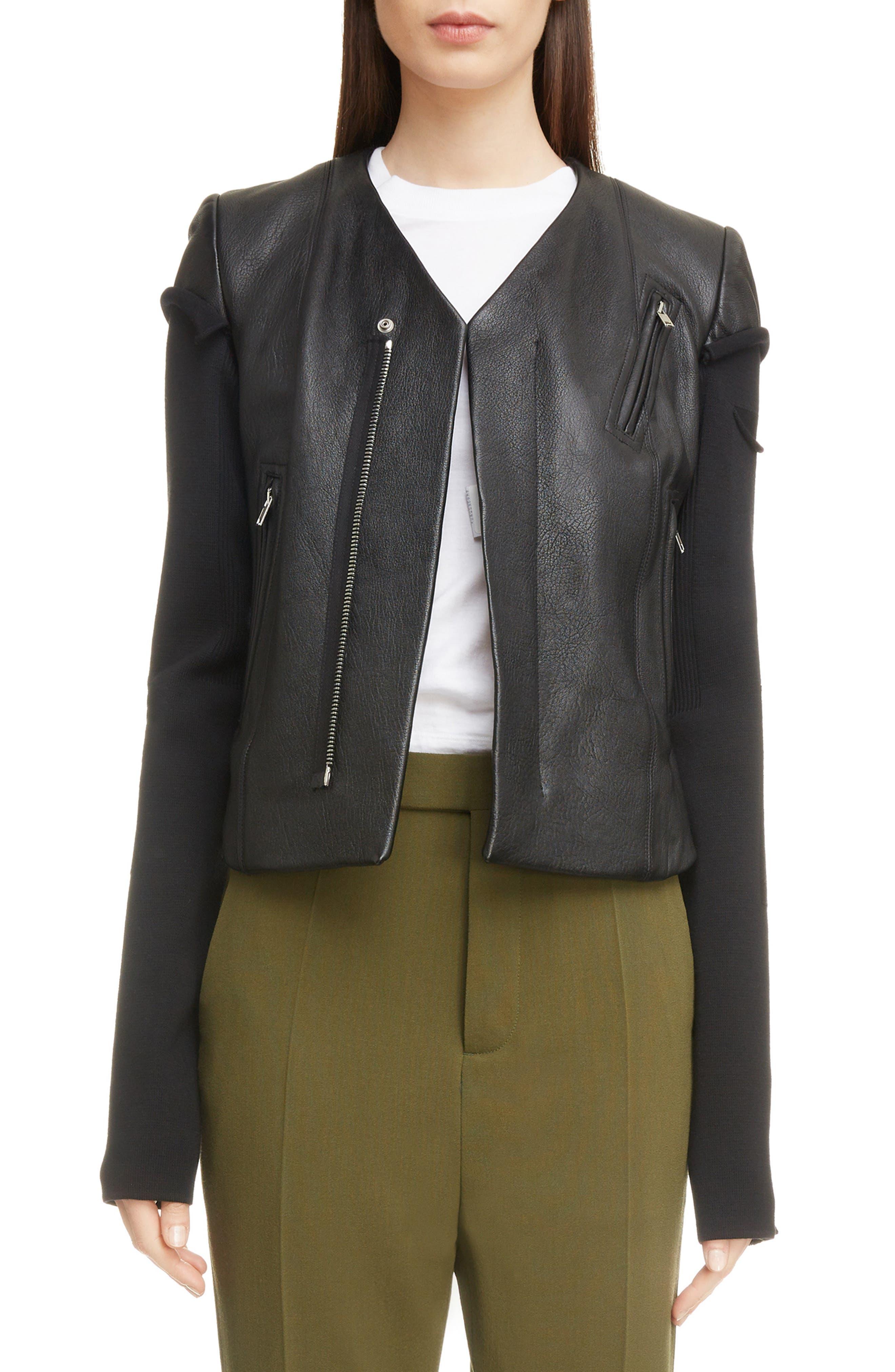 V-Neck Leather Biker Jacket,                         Main,                         color, BLACK