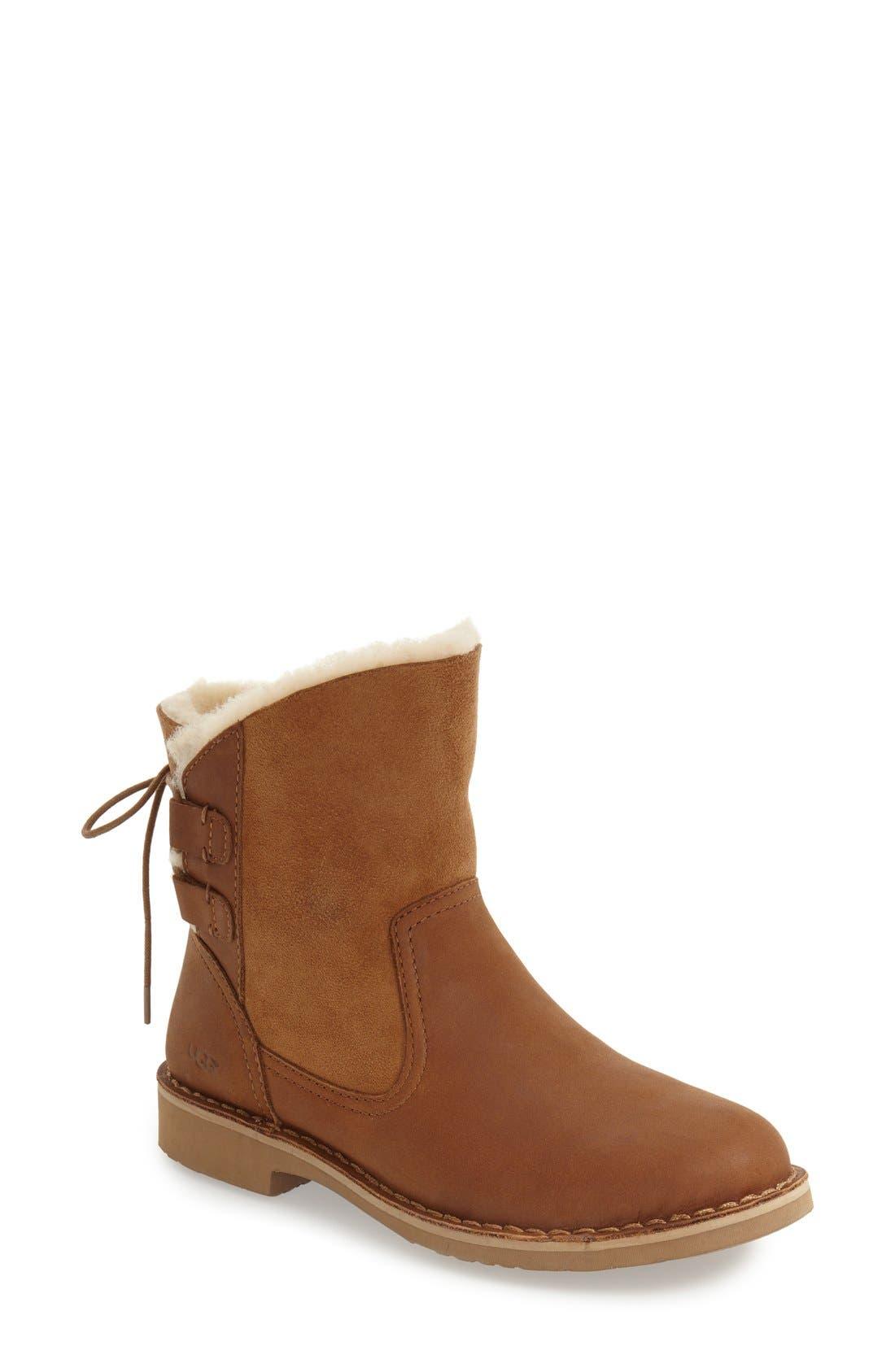Naiyah Lace-Back Genuine Shearling Boot,                             Main thumbnail 1, color,                             219