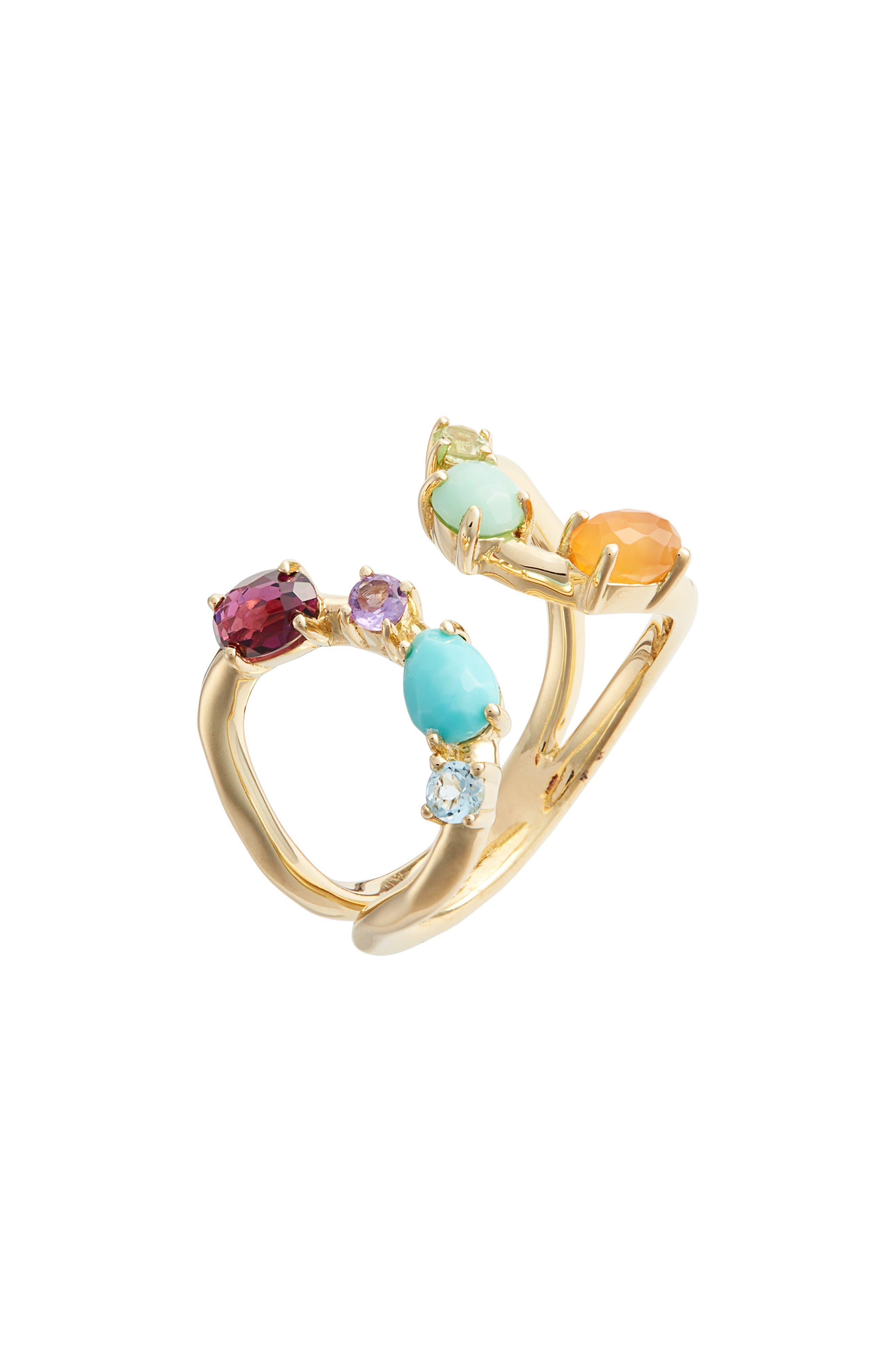 Rock Candy 18K Gold Open Ring,                         Main,                         color, GOLD/ MULTI