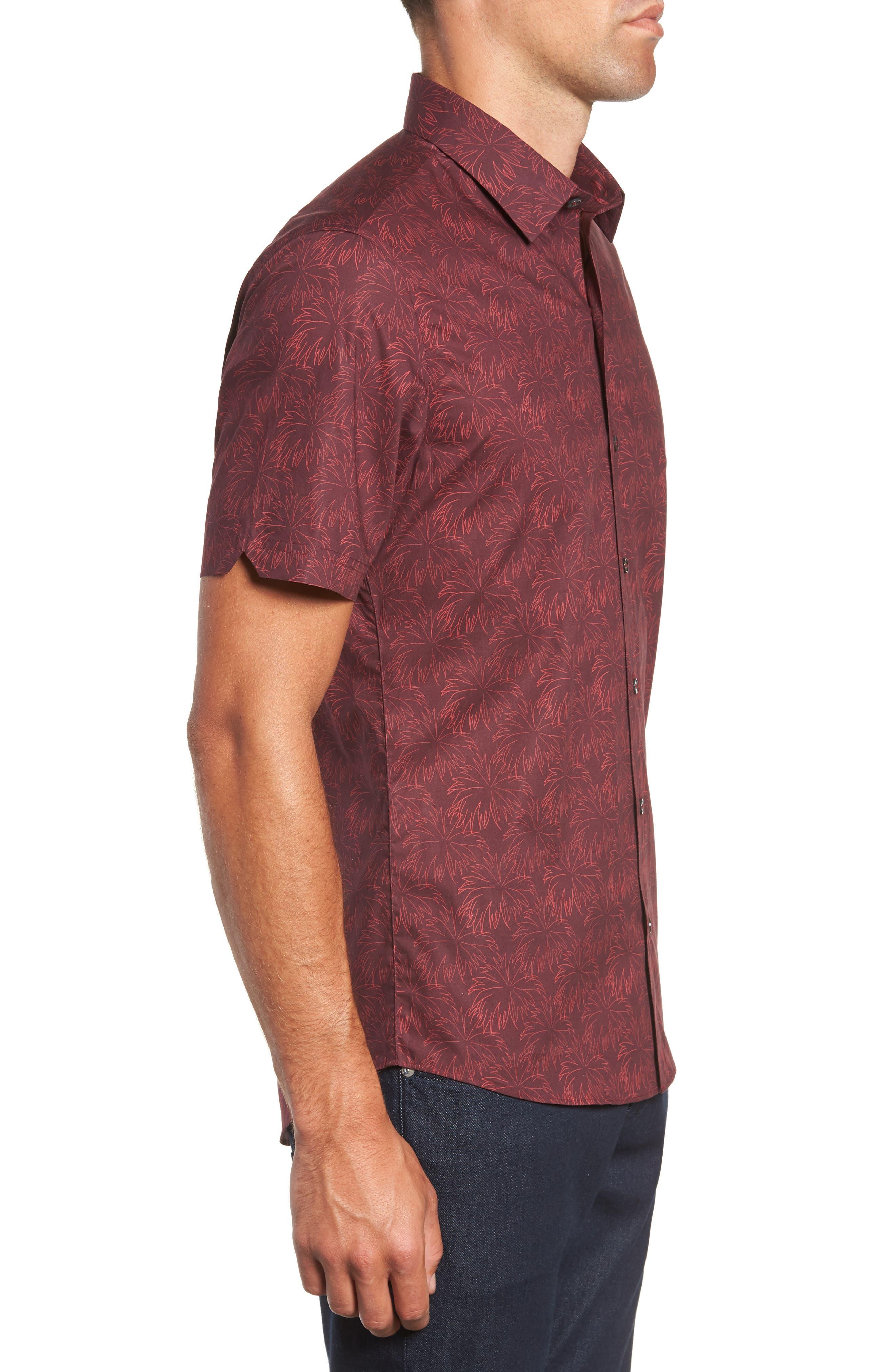 Rinaldi Regular Fit Pattern Sport Shirt,                             Alternate thumbnail 4, color,                             MAROON