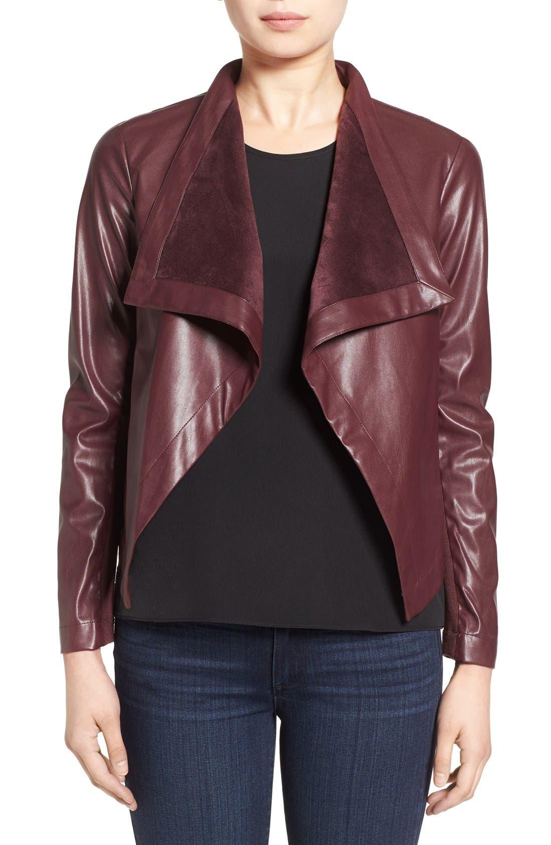 'Peppin' Drape Front Faux Leather Jacket,                             Main thumbnail 8, color,