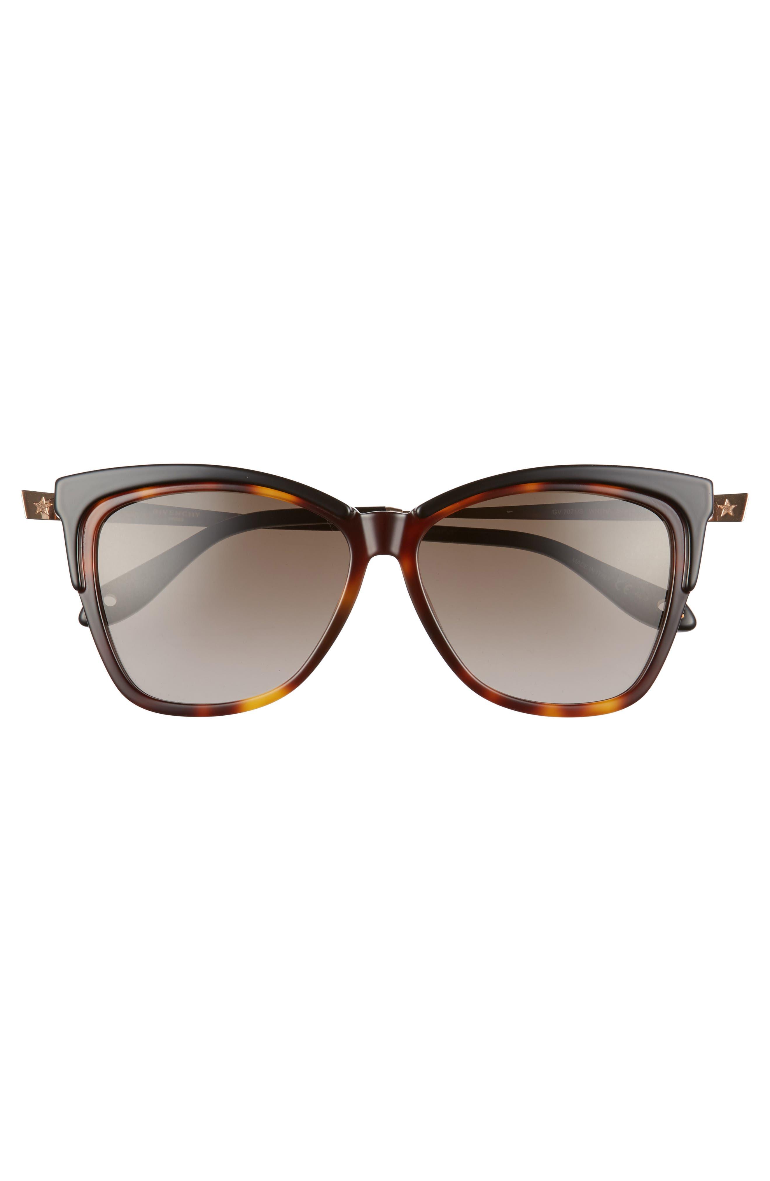 57mm Cat Eye Sunglasses,                             Alternate thumbnail 3, color,                             DARK HAVANA