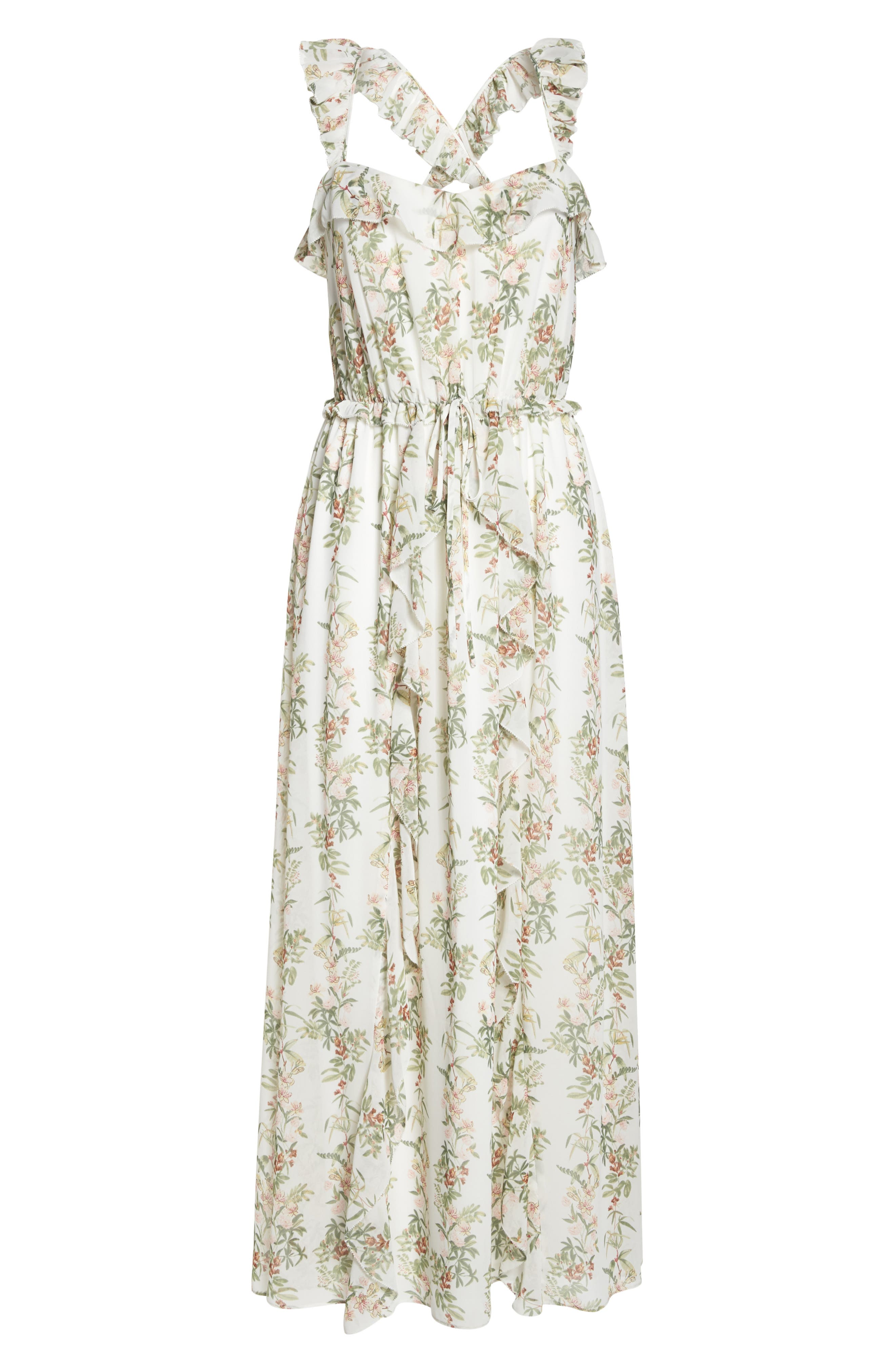 Isabella Floral Stripe Cross Back Maxi Dress,                             Alternate thumbnail 7, color,                             900