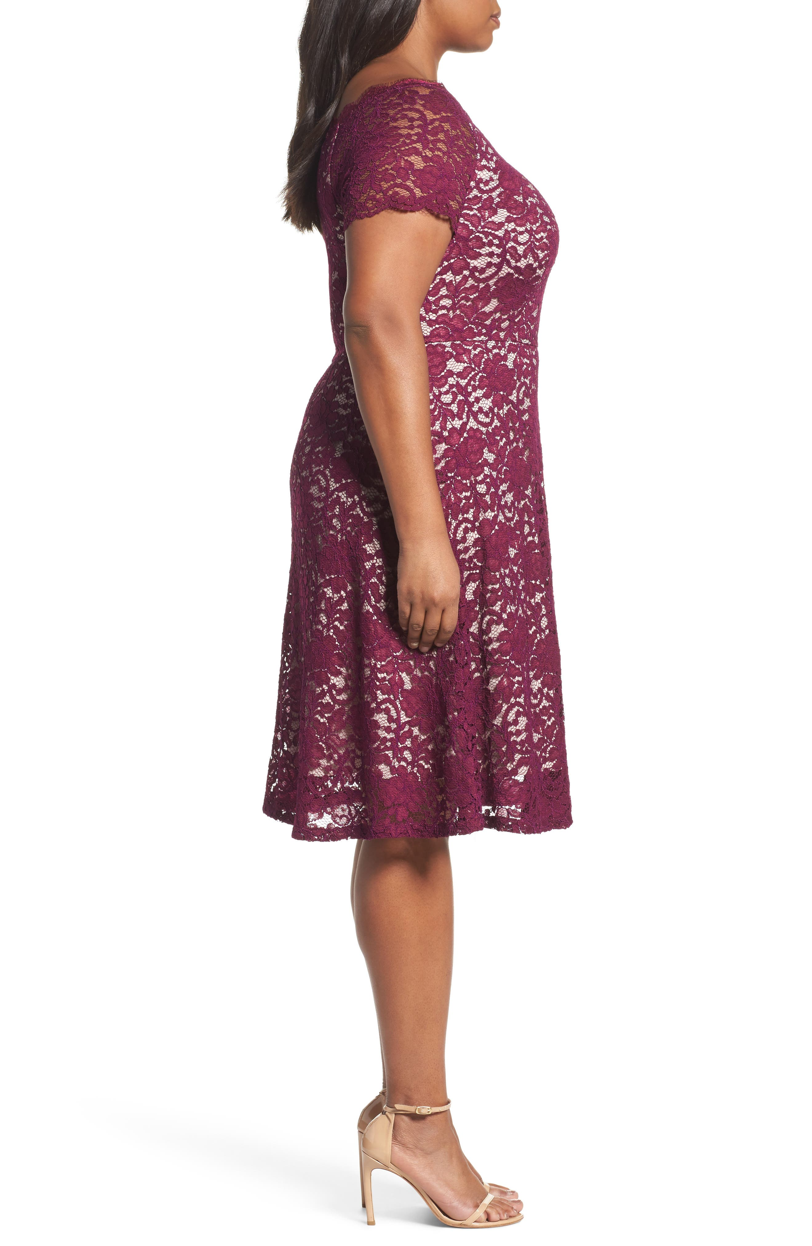 Fit & Flare Lace Dress,                             Alternate thumbnail 3, color,                             654