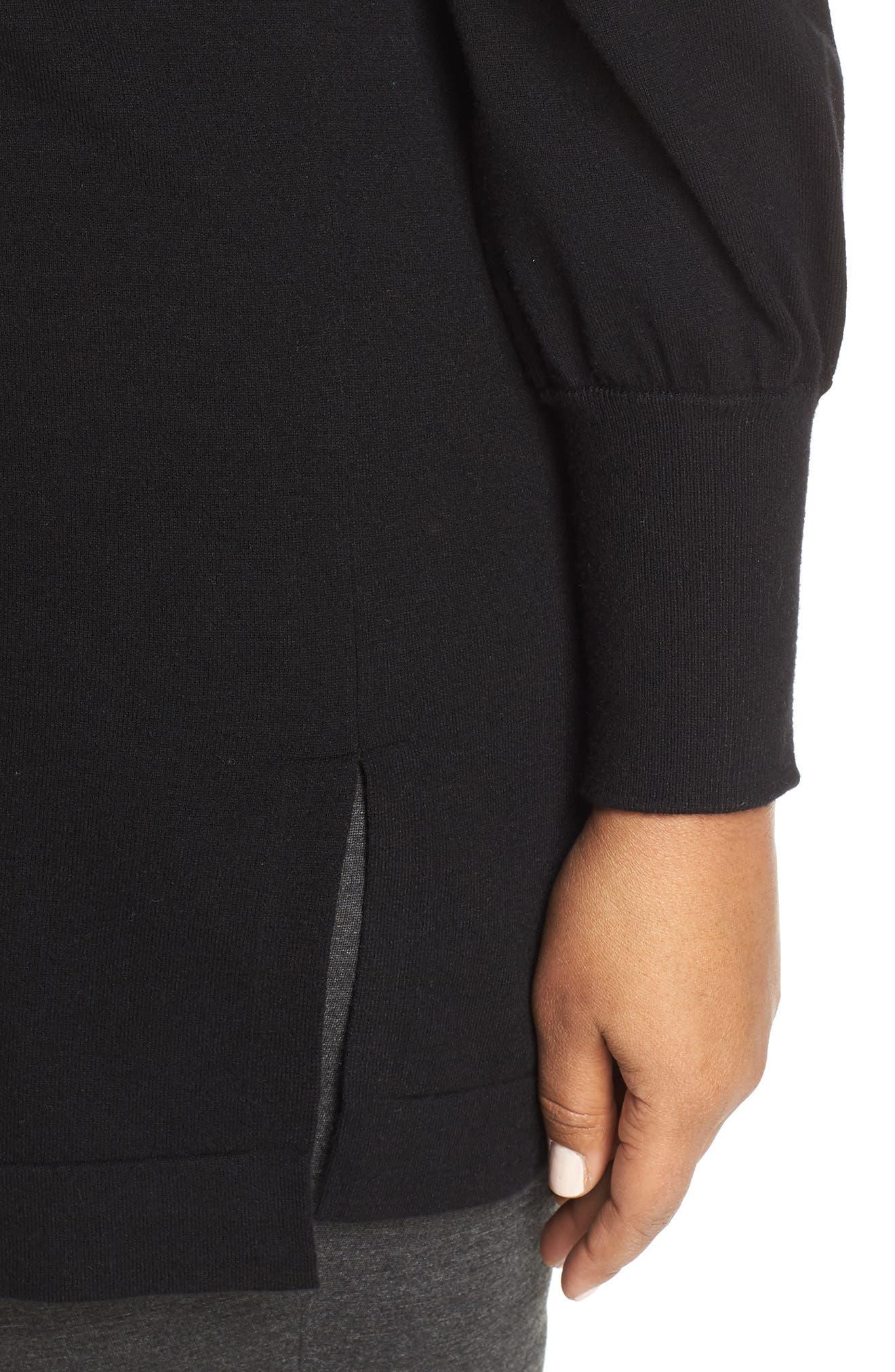 Puff Sleeve Long Hoodie,                             Alternate thumbnail 4, color,                             BLACK