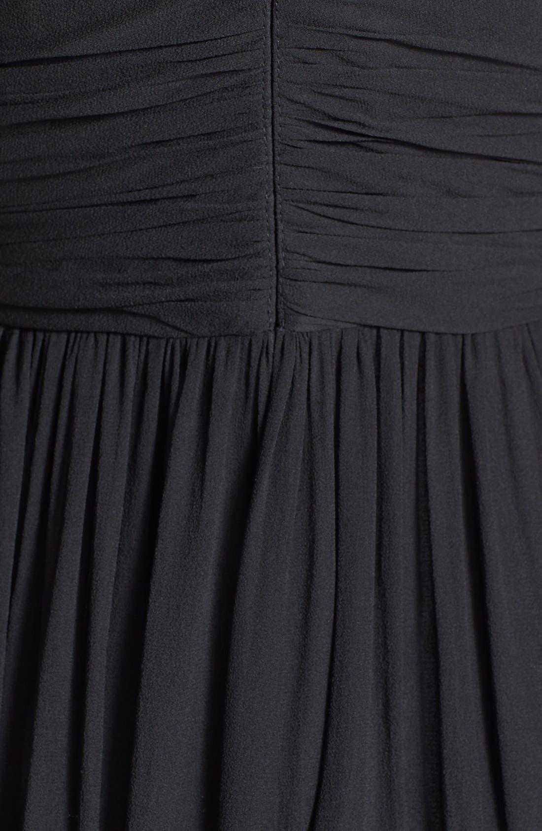 DONNA MORGAN,                             'Julie' Twist-Waist Silk Chiffon Gown,                             Alternate thumbnail 5, color,                             001