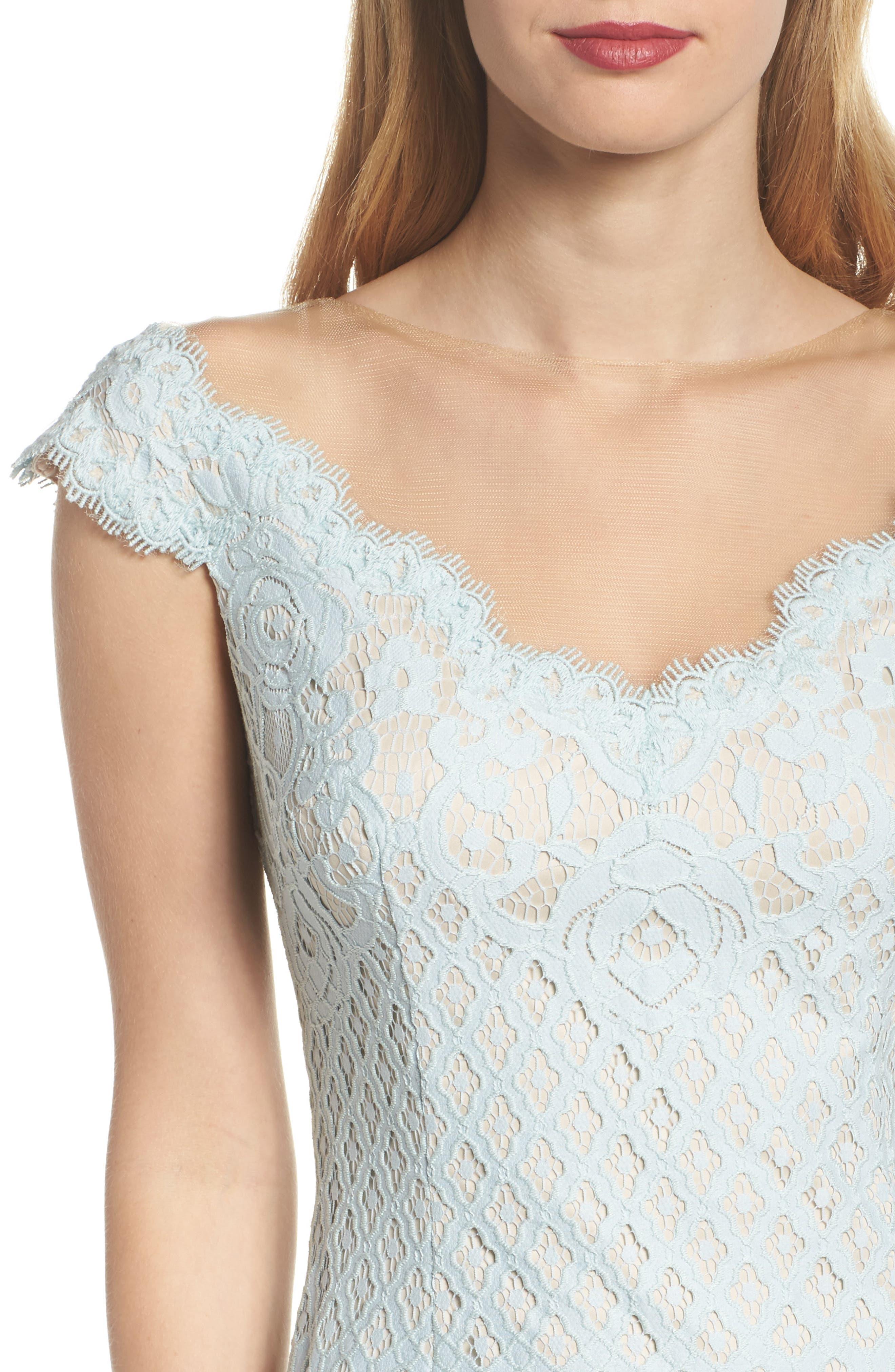 Illusion Neck Lace Column Gown,                             Alternate thumbnail 4, color,                             400
