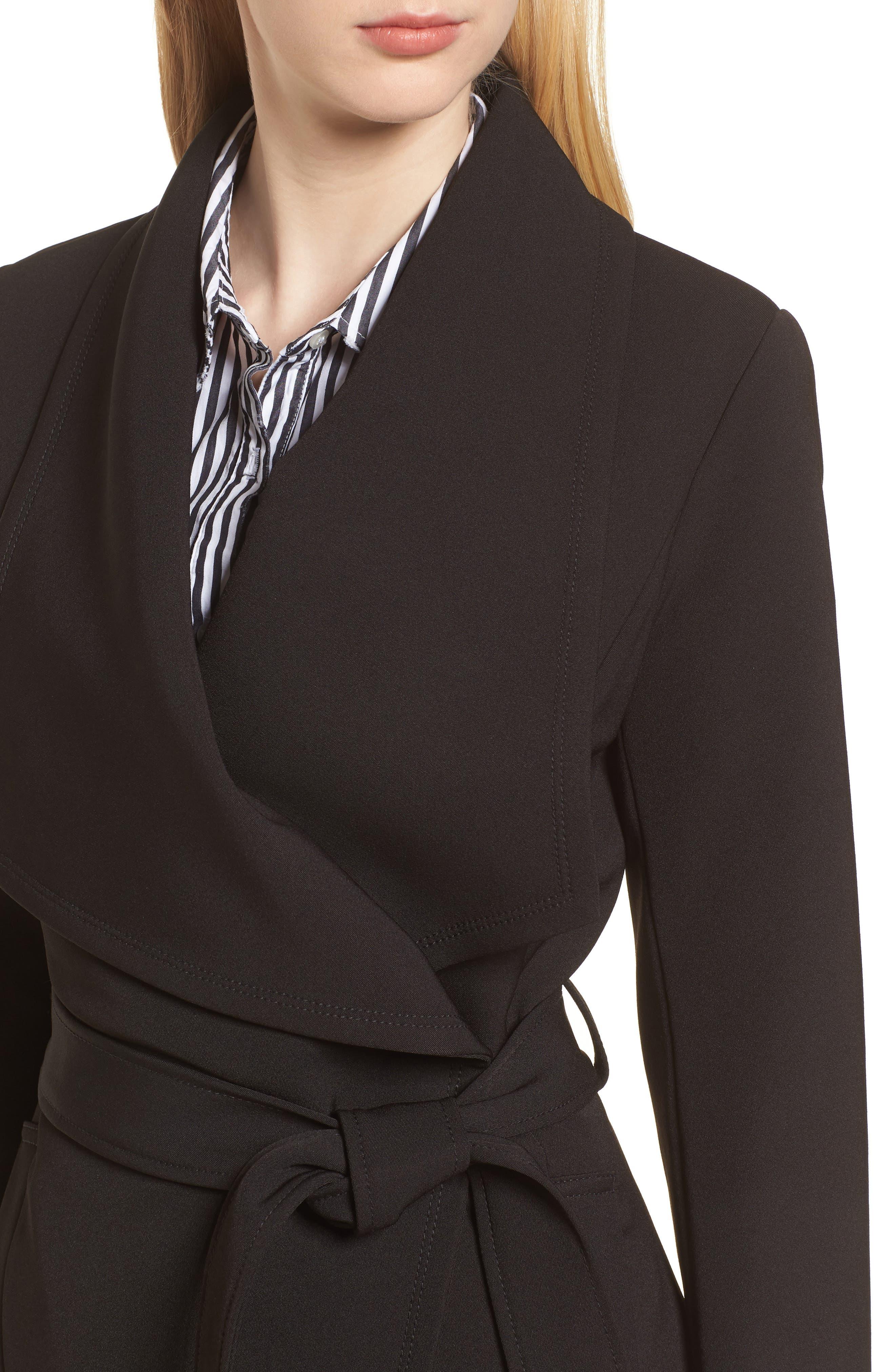 Abbey Draped Collar Wrap Coat,                             Alternate thumbnail 4, color,                             BLACK