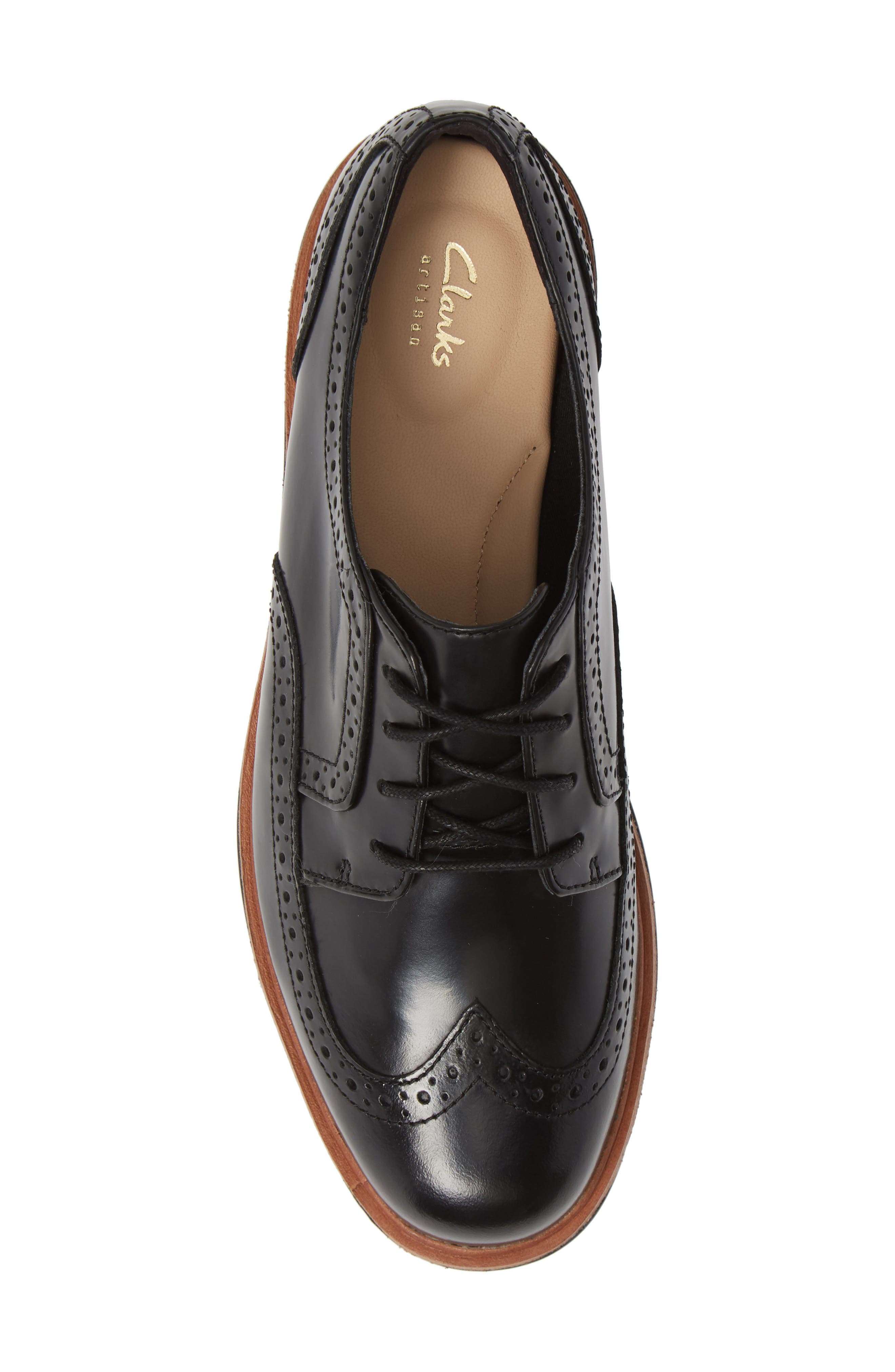 Teadale Maira Wingtip Derby,                             Alternate thumbnail 5, color,                             BLACK LEATHER