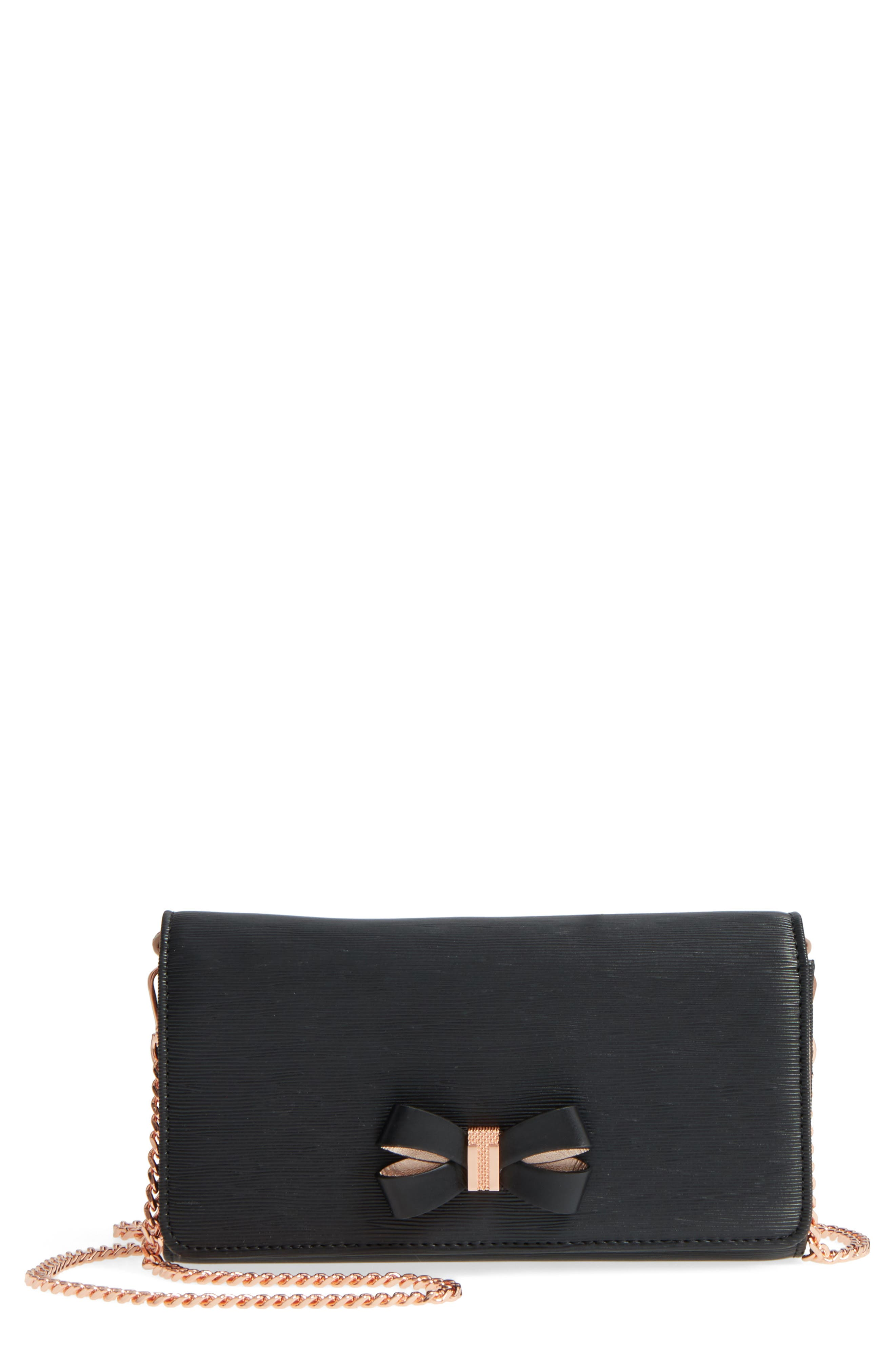 Melisia Bow Leather Mantinee Wallet on a Chain,                         Main,                         color, 001