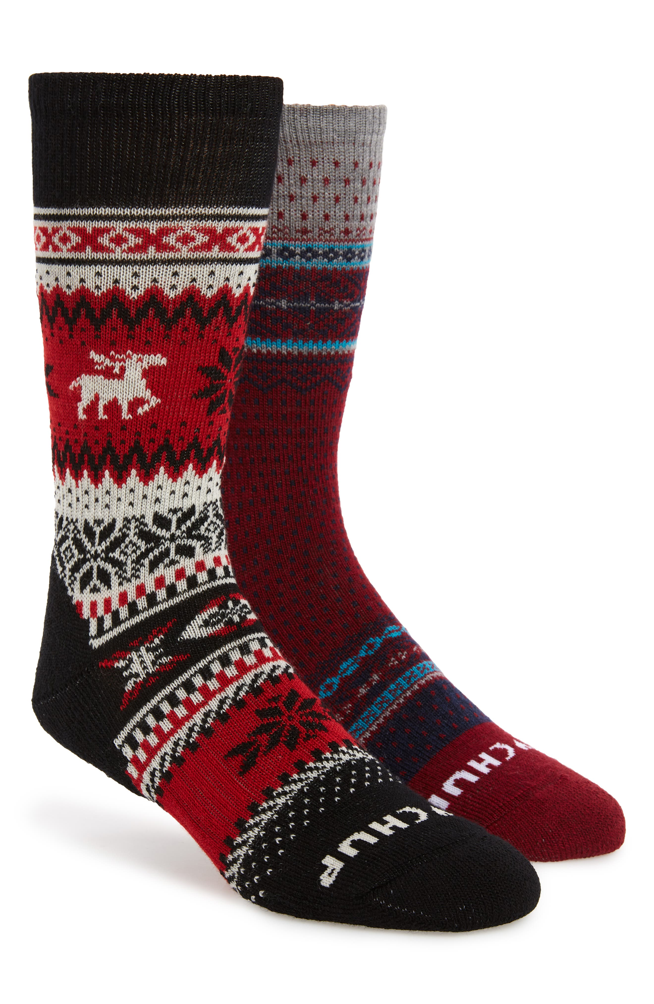 x CHUP 2-Pack Socks, Main, color, BLACK/ TIBETAN RED