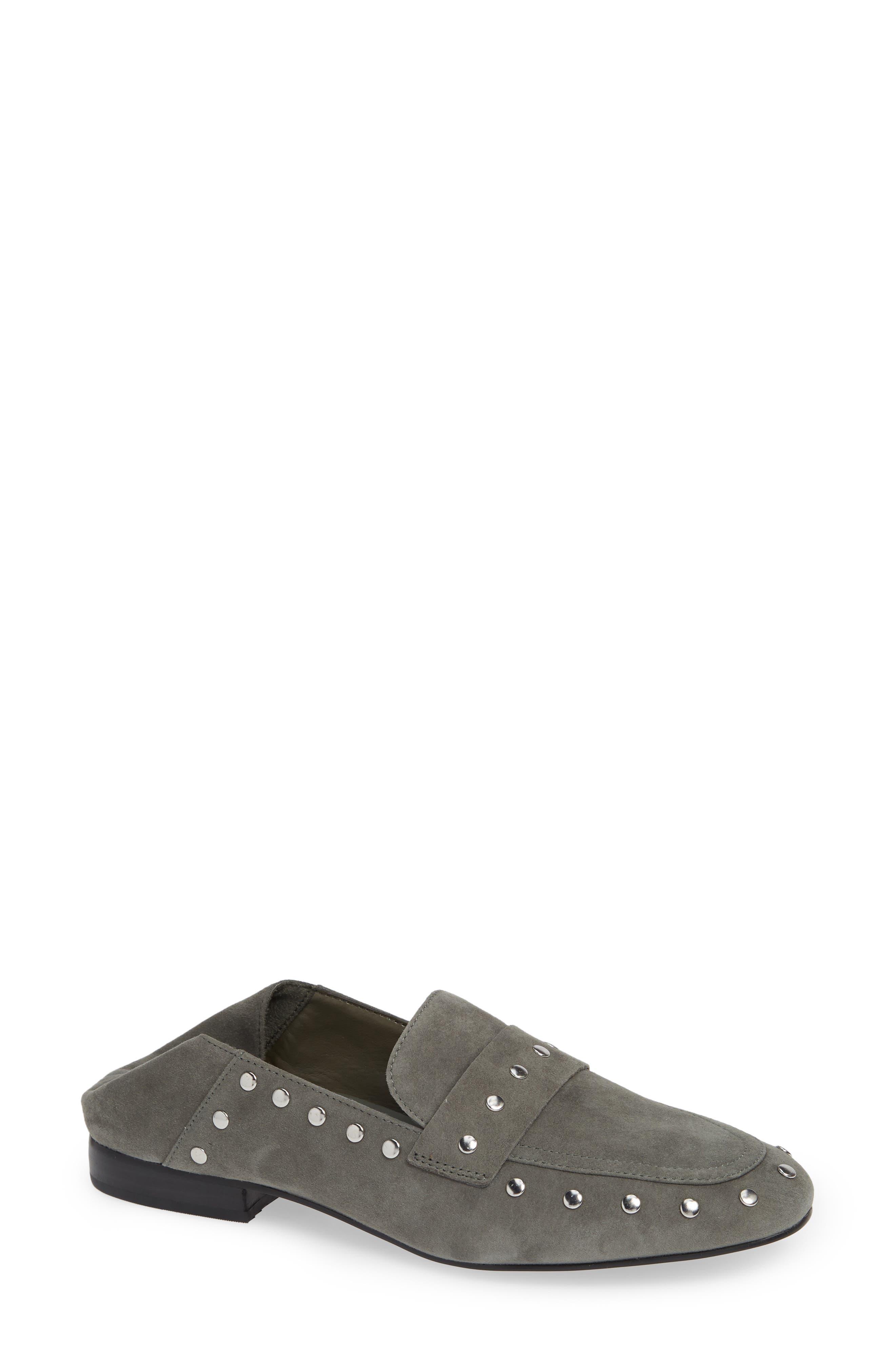 Black Suede Studio Alfee Studded Convertible Loafer