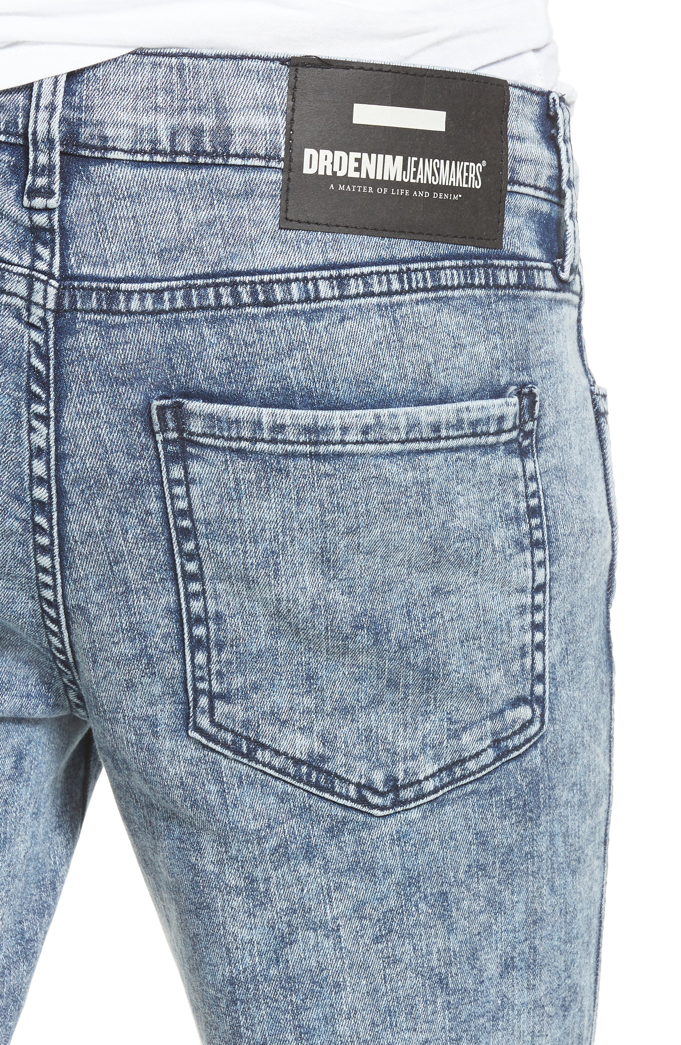 Snap Skinny Fit Jeans,                             Alternate thumbnail 4, color,                             400