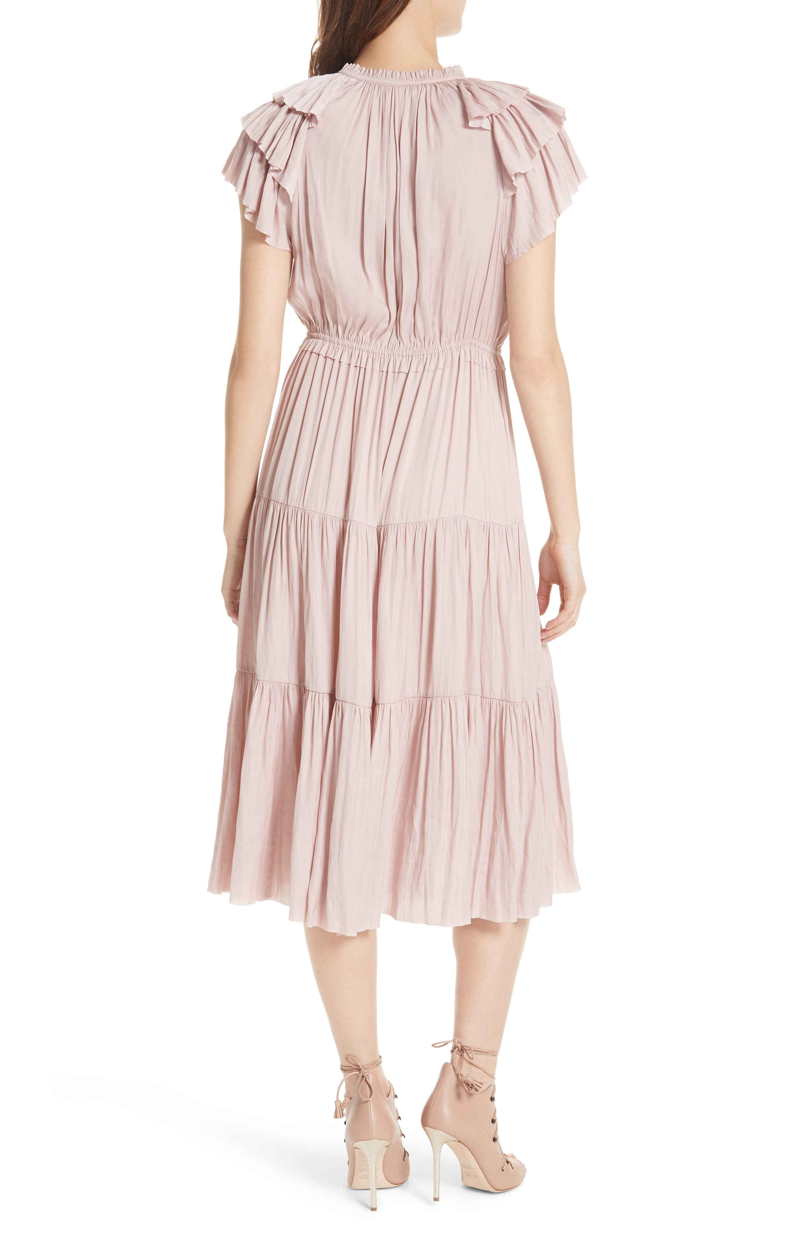ULLA JOHNSON,                             Blaire Satin Dress,                             Alternate thumbnail 2, color,                             600