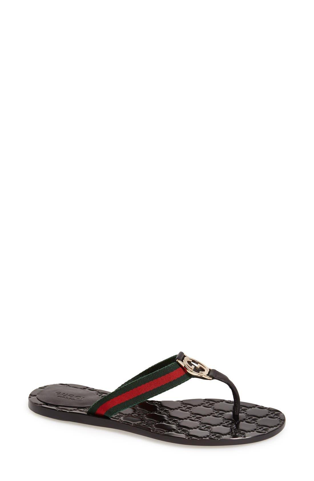 GUCCI,                             'GG' Logo Sandal,                             Main thumbnail 1, color,                             NERO