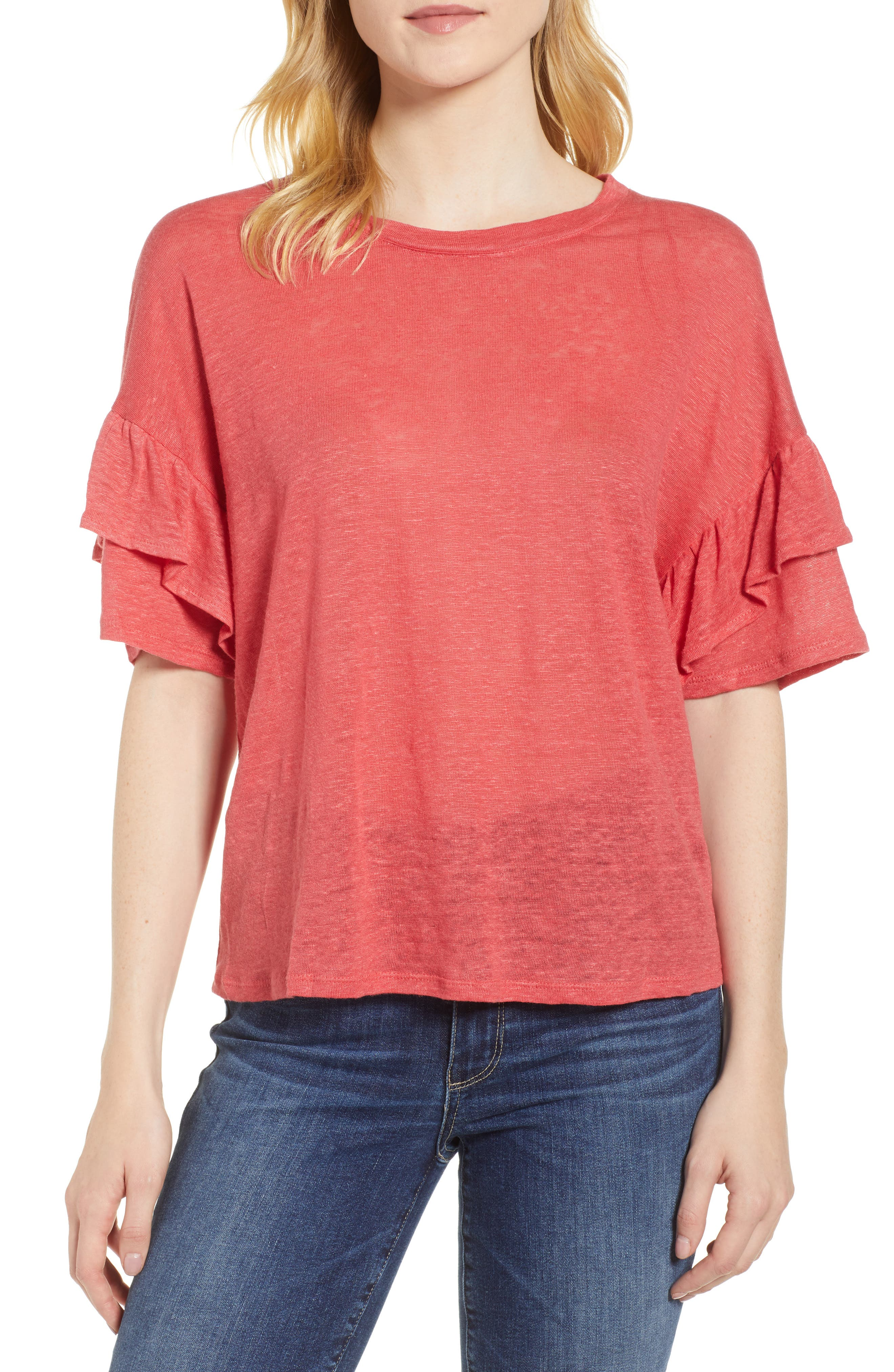 Ruffle Linen Tee,                             Main thumbnail 1, color,                             DARK CORAL REEF
