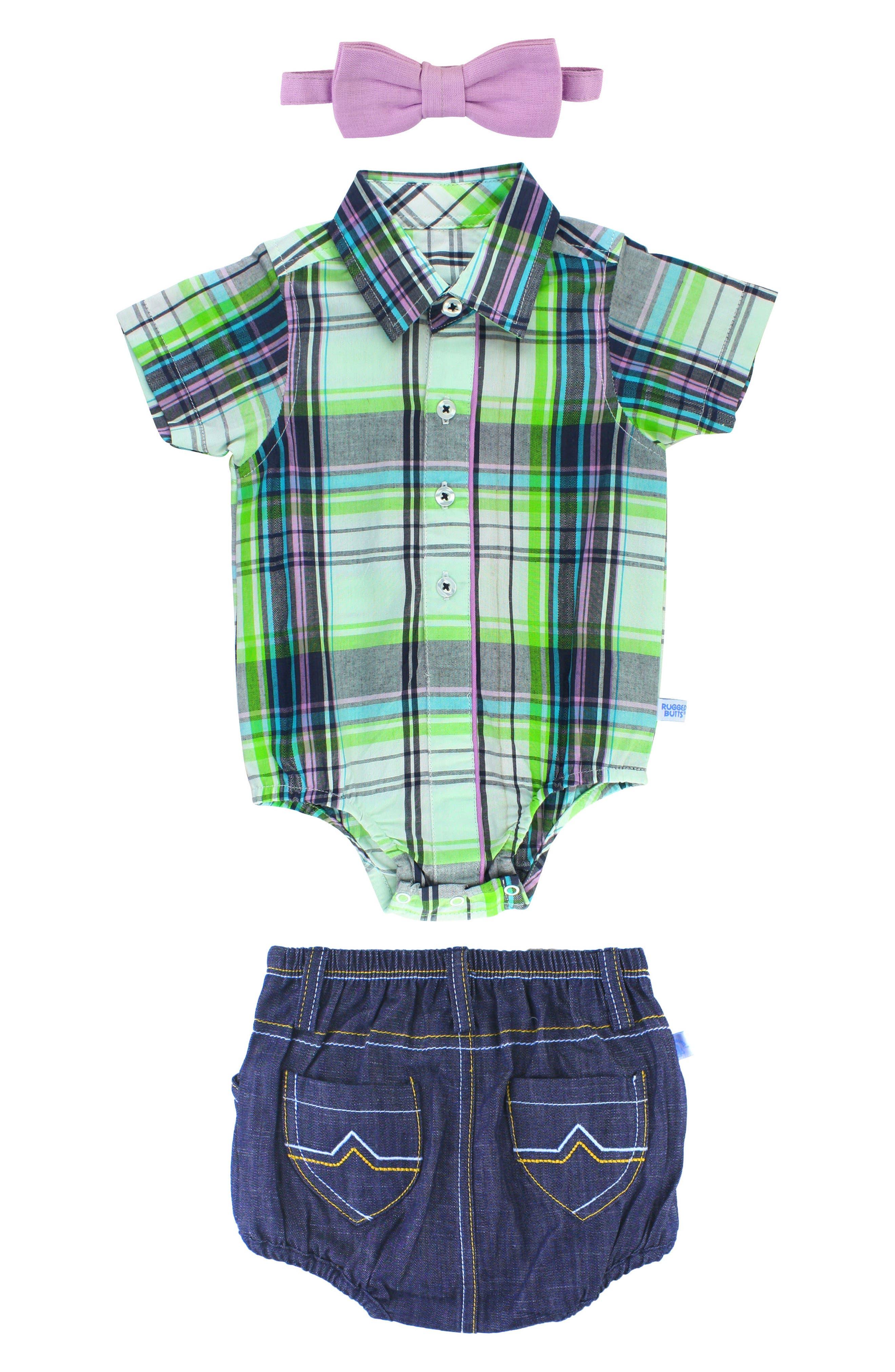 Christopher Plaid Bodysuit, Shorts & Bow Tie Set,                             Alternate thumbnail 2, color,                             110