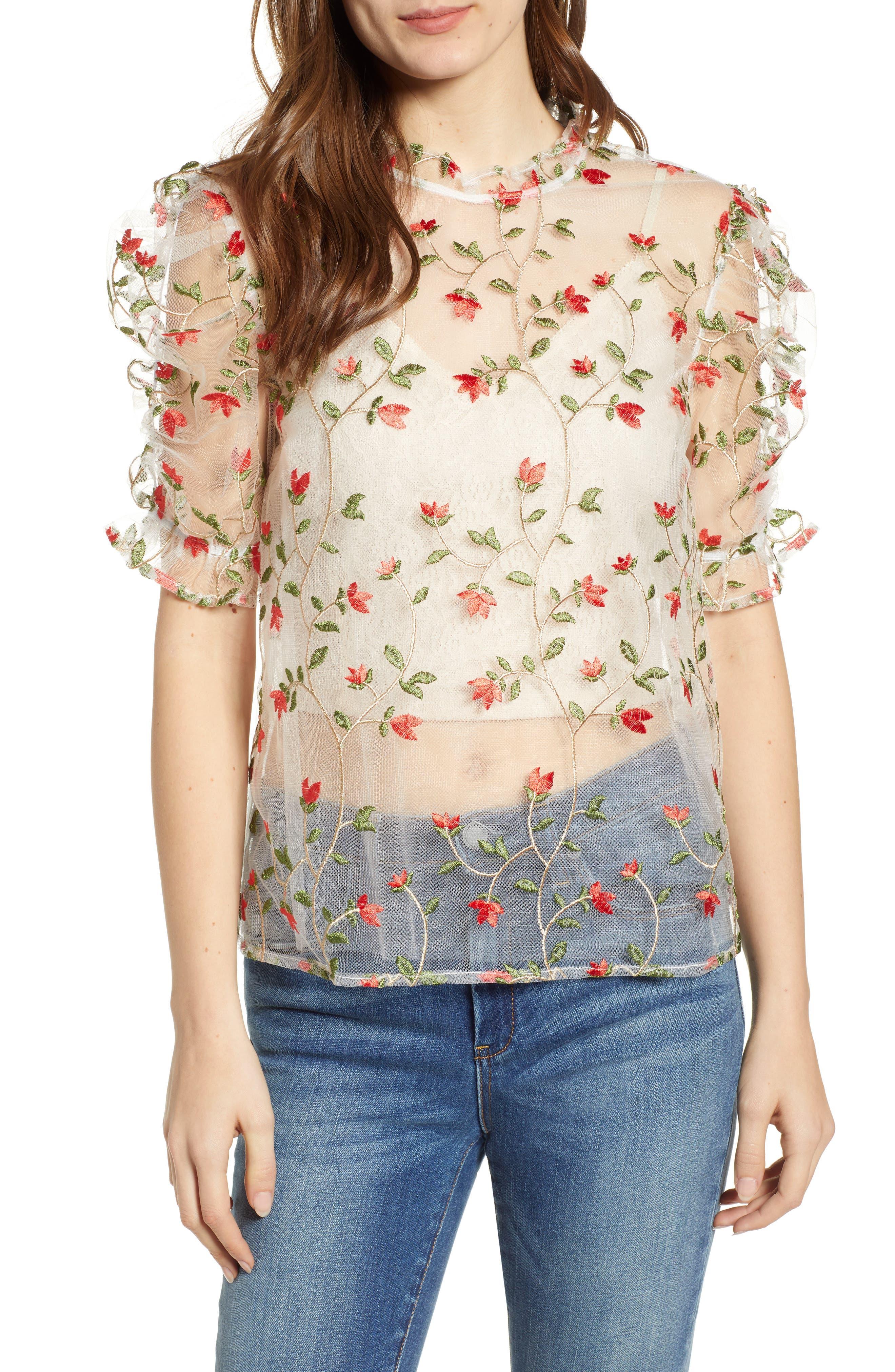 Floral Mesh Top, Main, color, MULTI