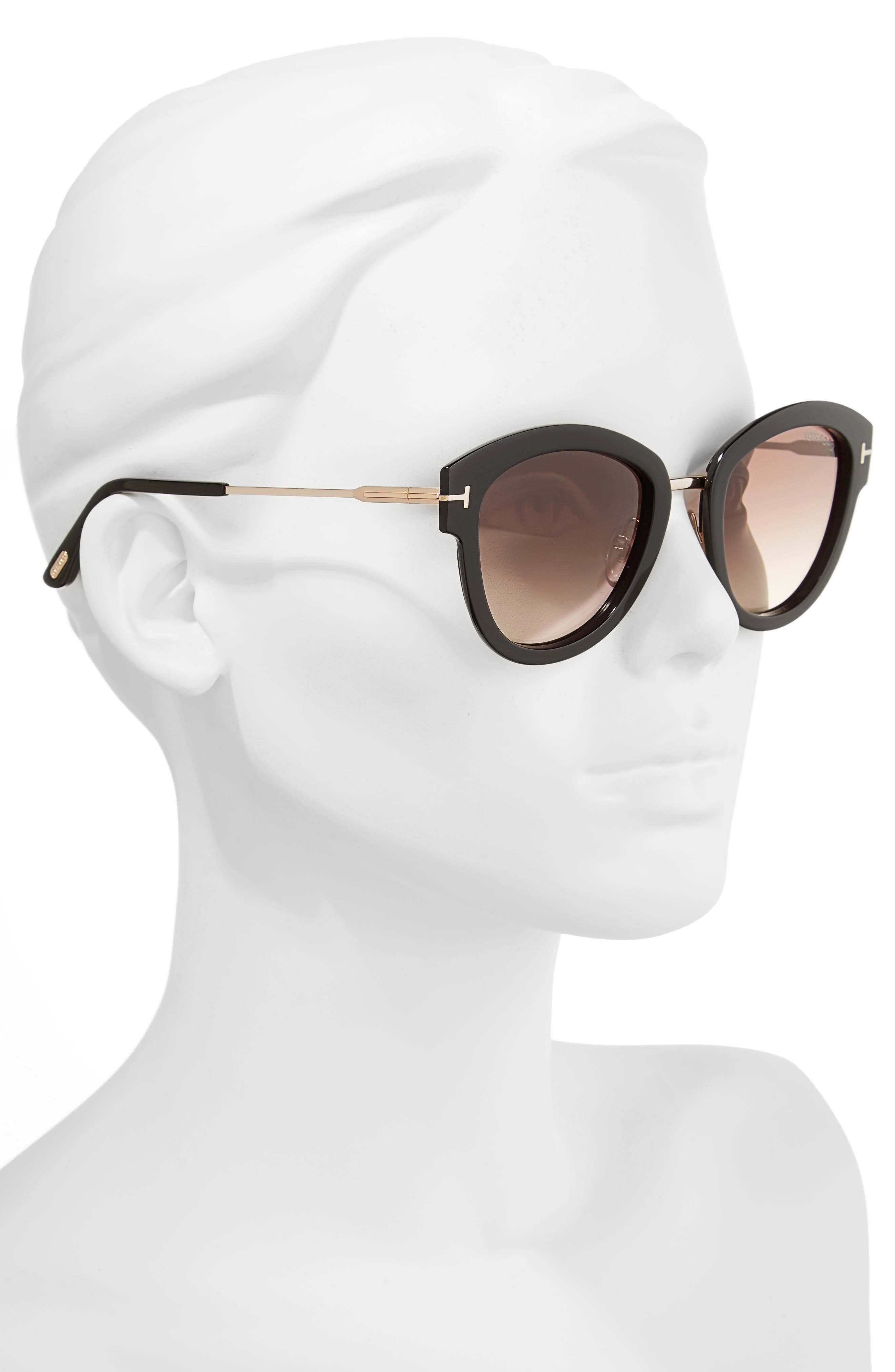 Mia 55mm Cat Eye Sunglasses,                             Alternate thumbnail 2, color,                             BLACK ACETATE/ ROSE GOLD