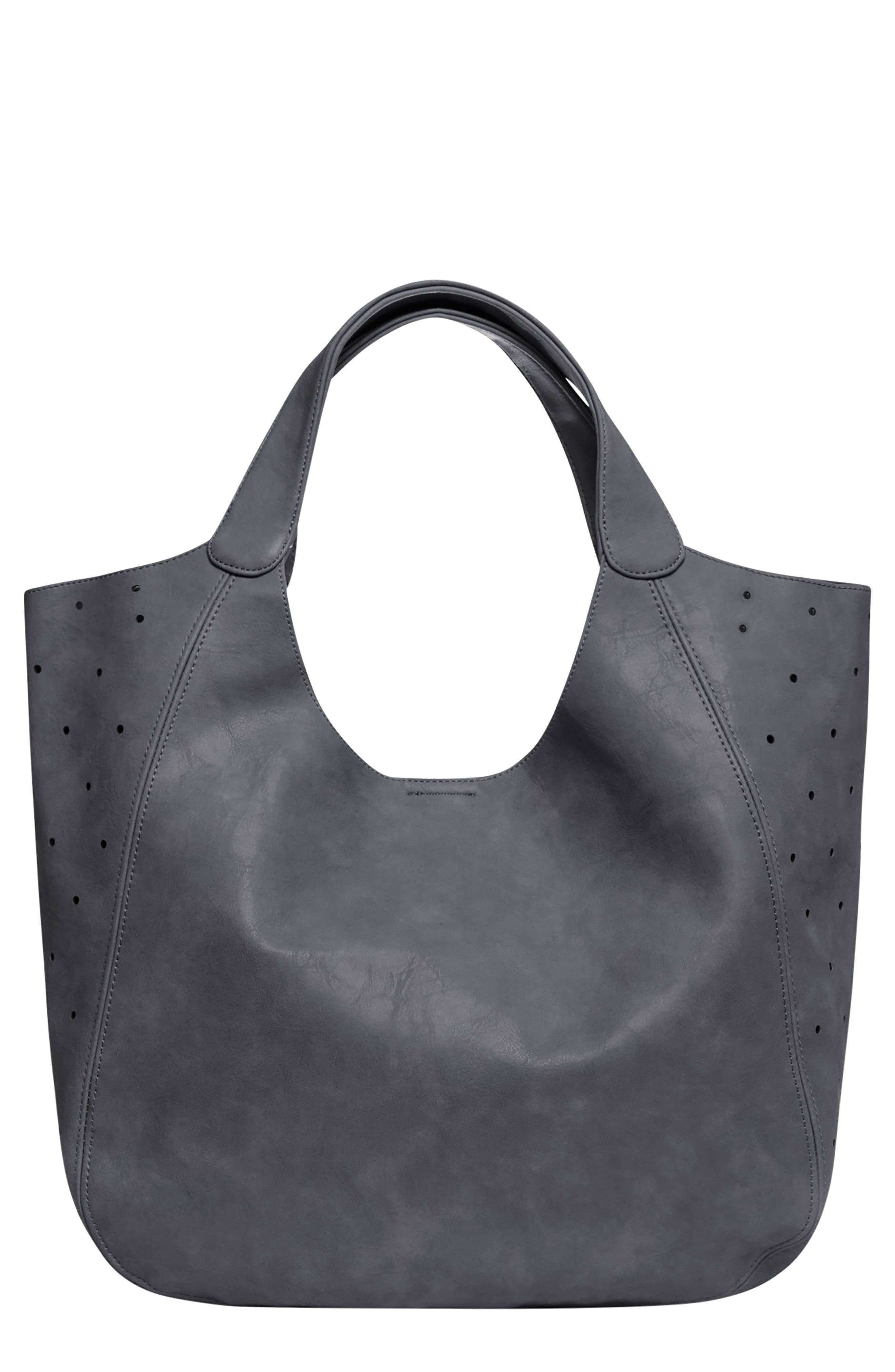 Masterpiece Perforated Vegan Leather Hobo,                         Main,                         color, GREY