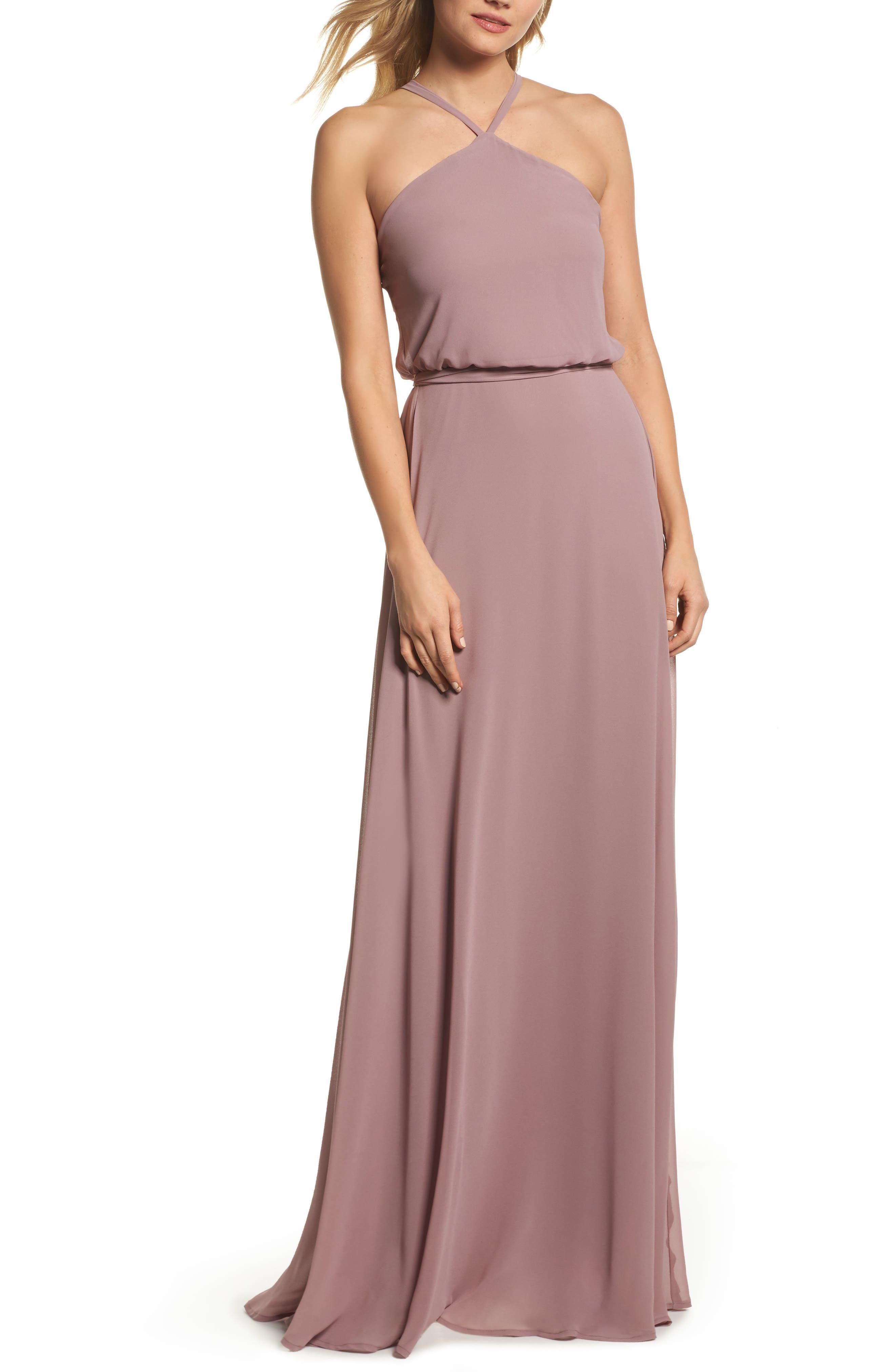 Halter Neck Chiffon Blouson Gown,                         Main,                         color,