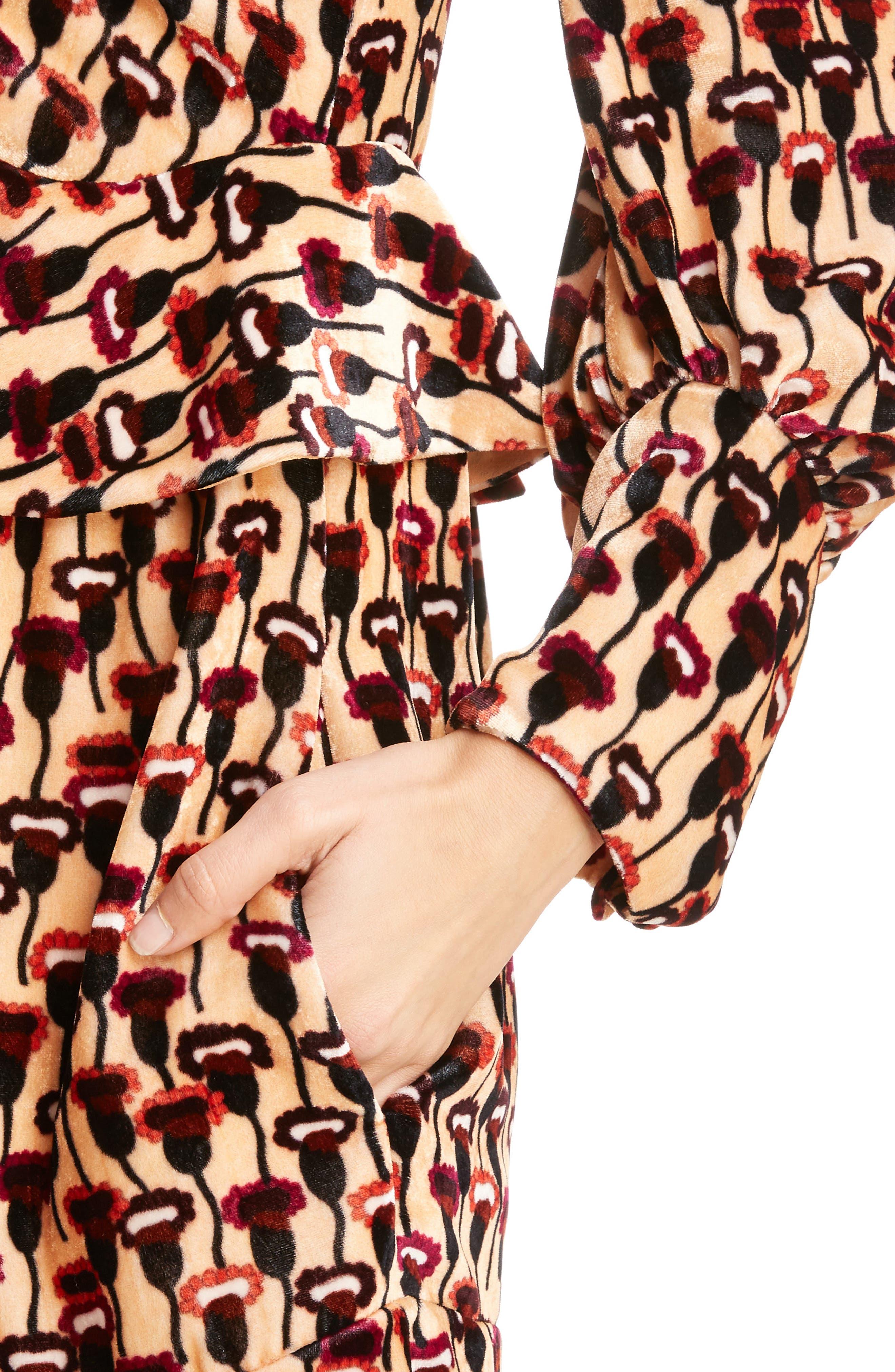 Poppy Print Velvet Peplum Dress,                             Alternate thumbnail 4, color,                             800