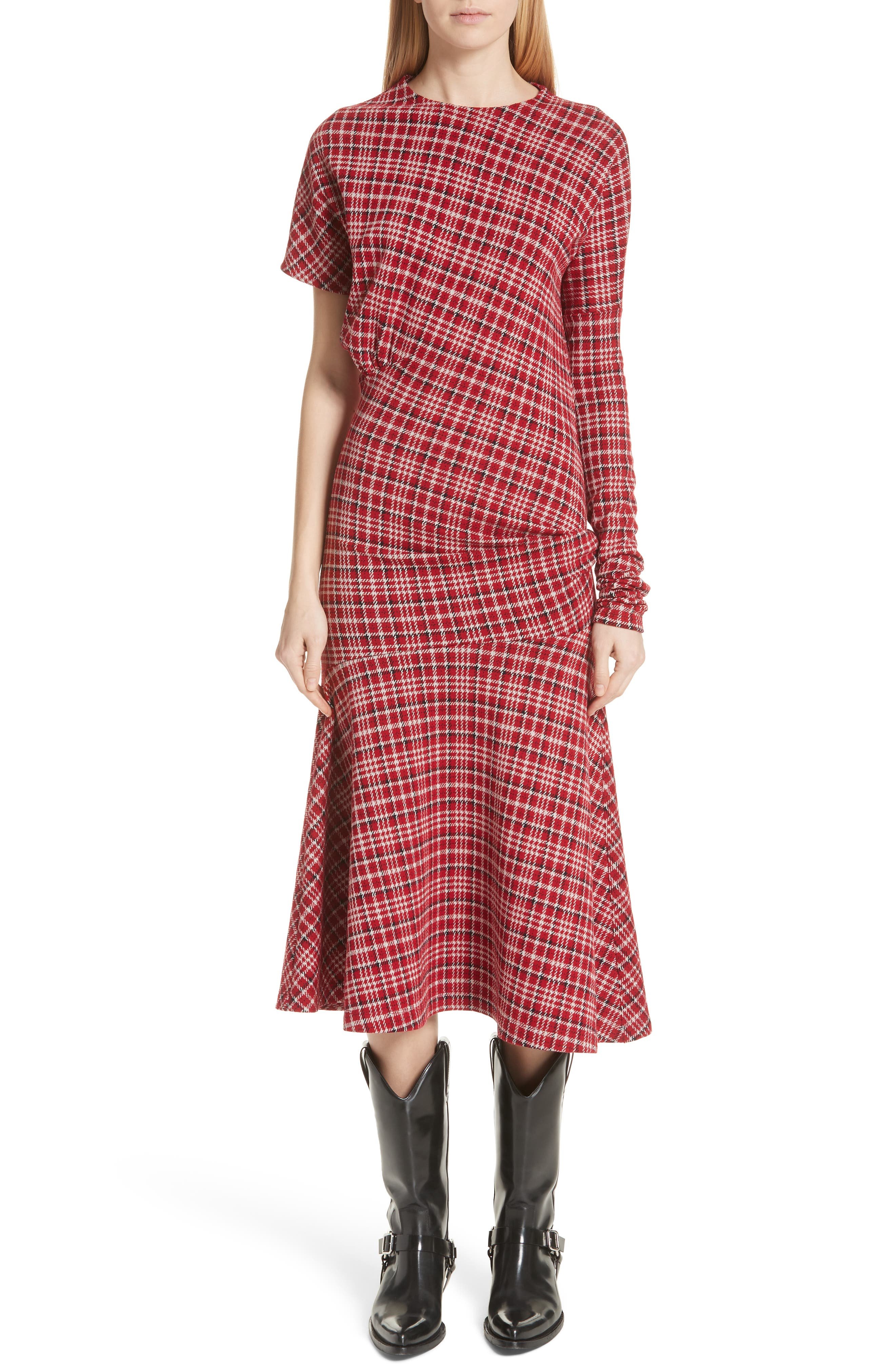 Tartan Asymmetrical Dress,                             Main thumbnail 1, color,                             649