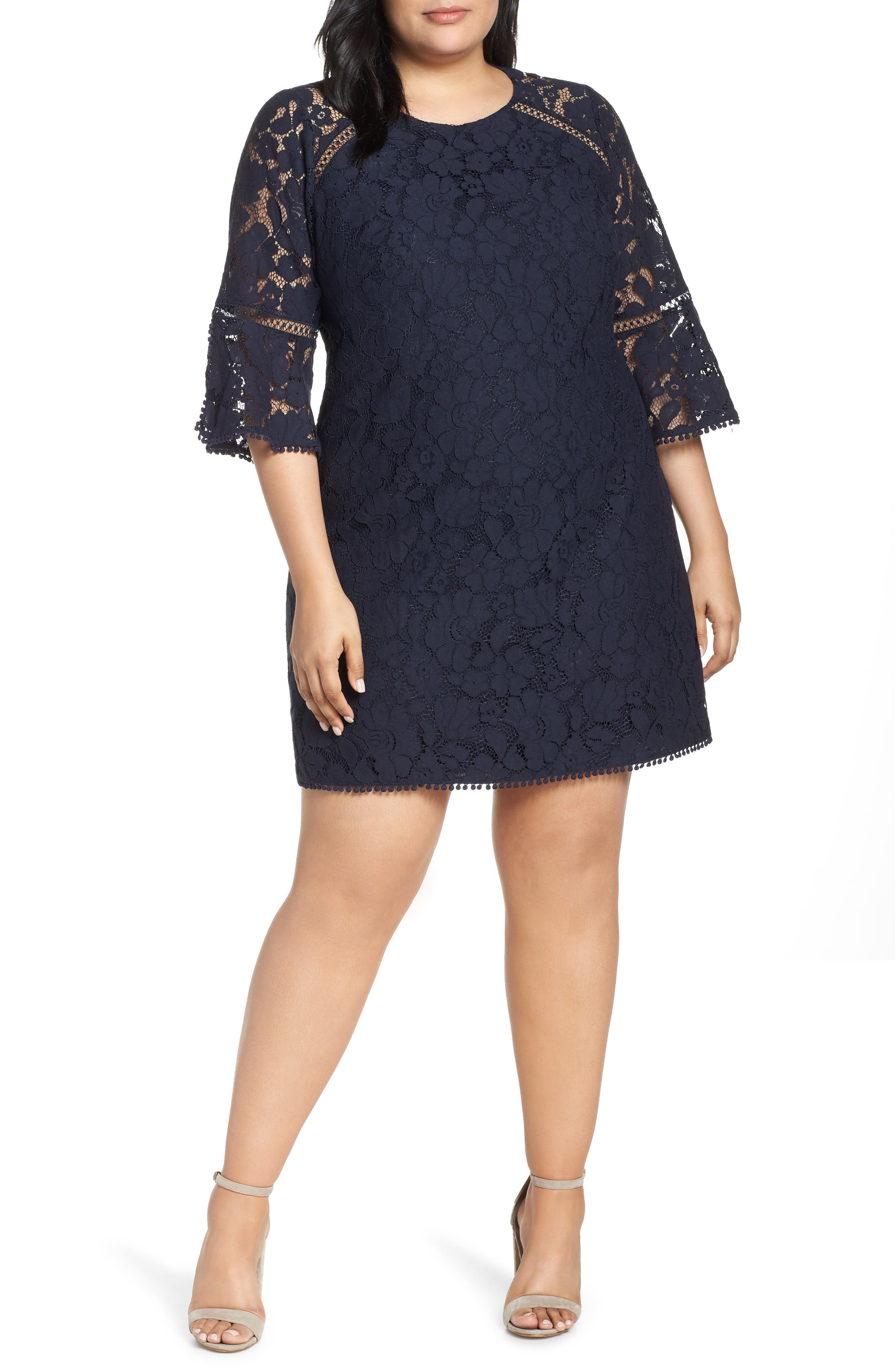 Plus Size Vince Camuto Bell Sleeve Lace Dress, Blue
