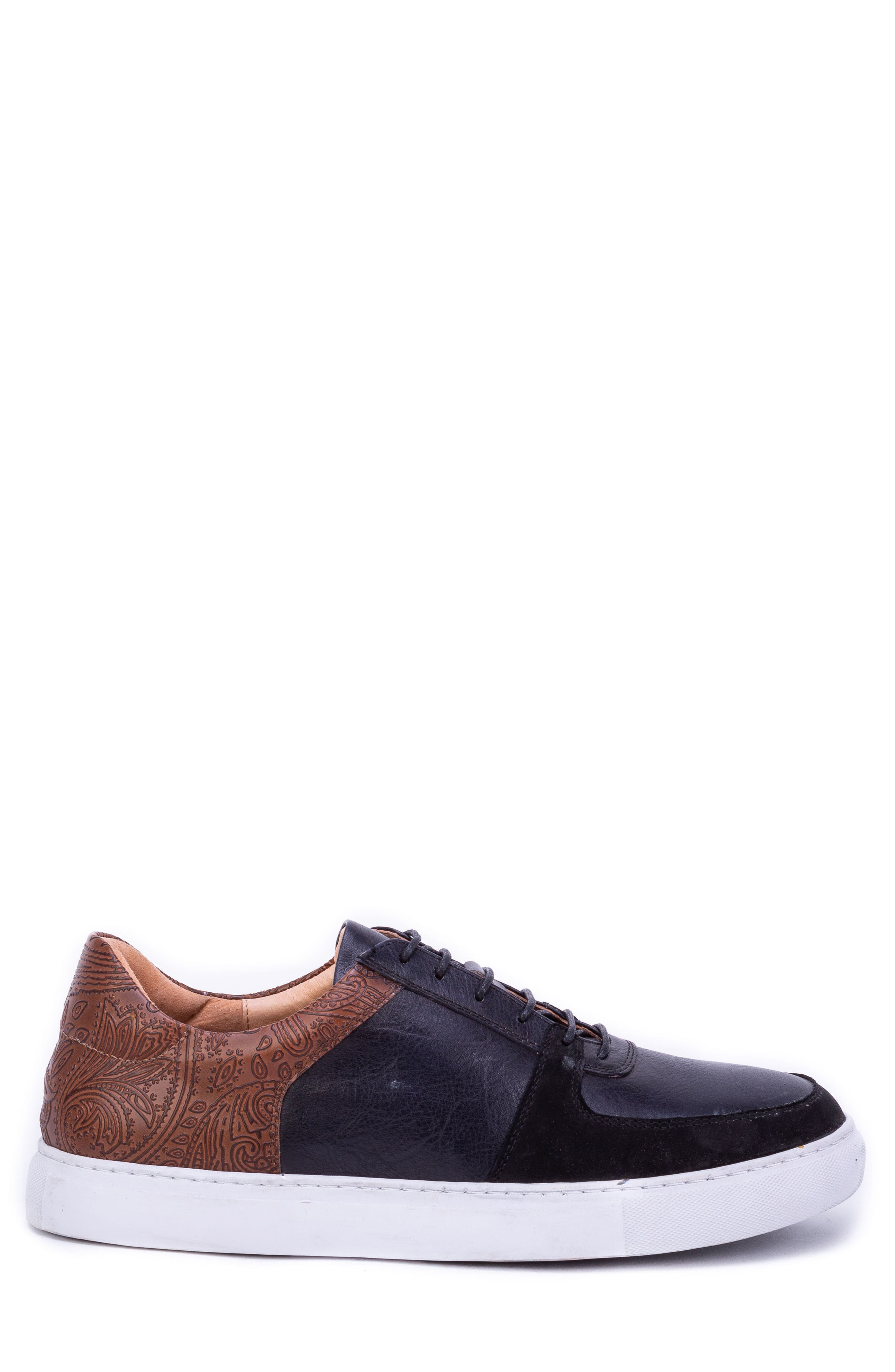 Chadwick Paisley Tooled Sneaker,                             Alternate thumbnail 3, color,                             BLACK LEATHER/ SUEDE