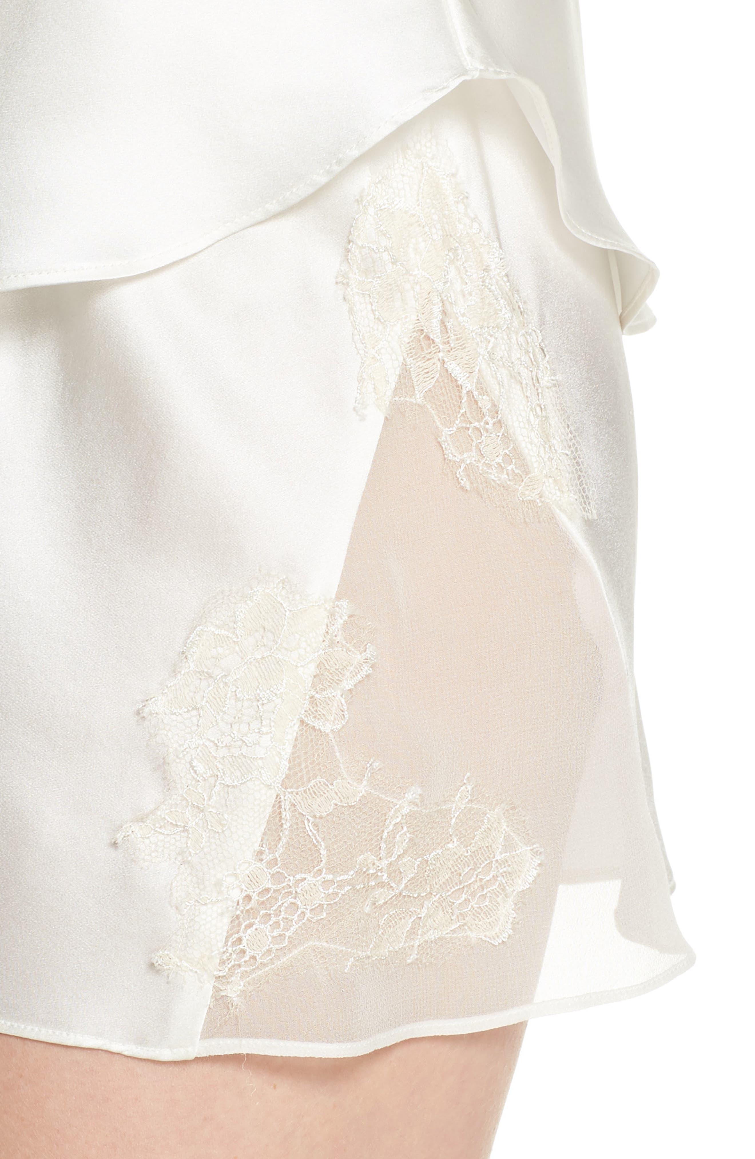 Lace Trim Short Silk Pajamas,                             Alternate thumbnail 4, color,                             100