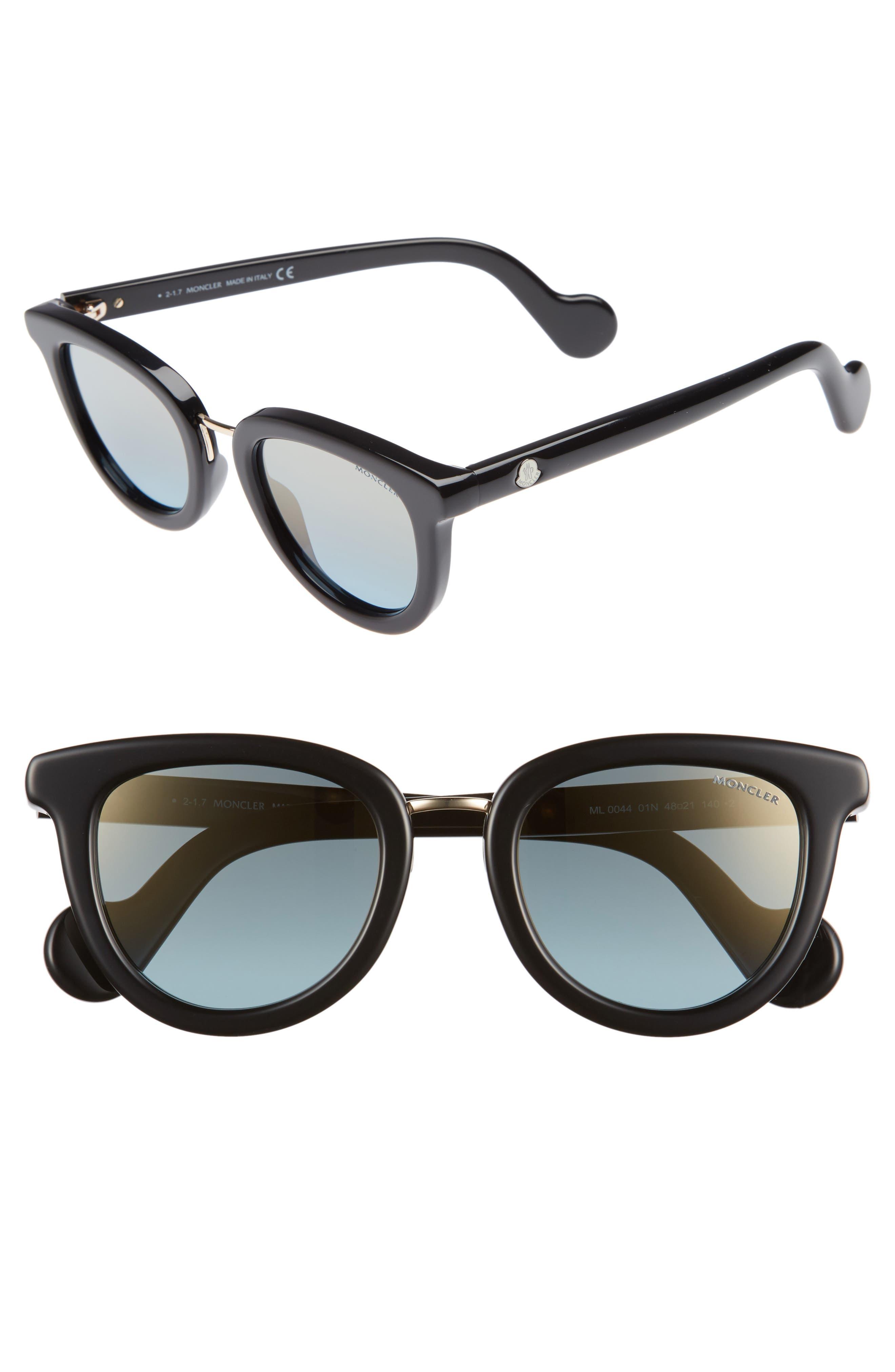 48mm Cat Eye Sunglasses,                             Main thumbnail 1, color,                             BLACK/ PALE GOLD/ LIGHT BLUE