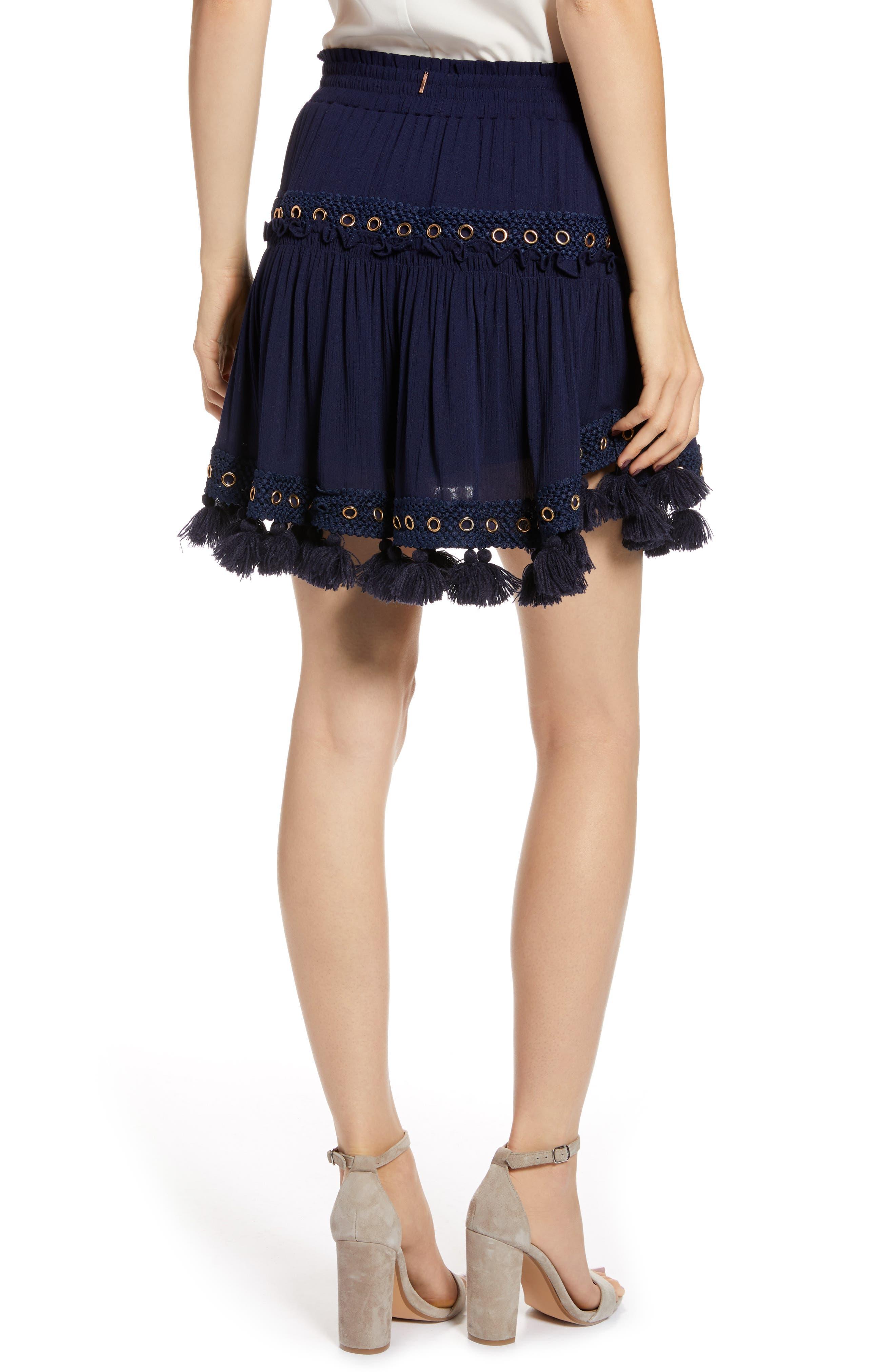 Marcella Fringe Trim Skirt,                             Alternate thumbnail 2, color,                             AZURE